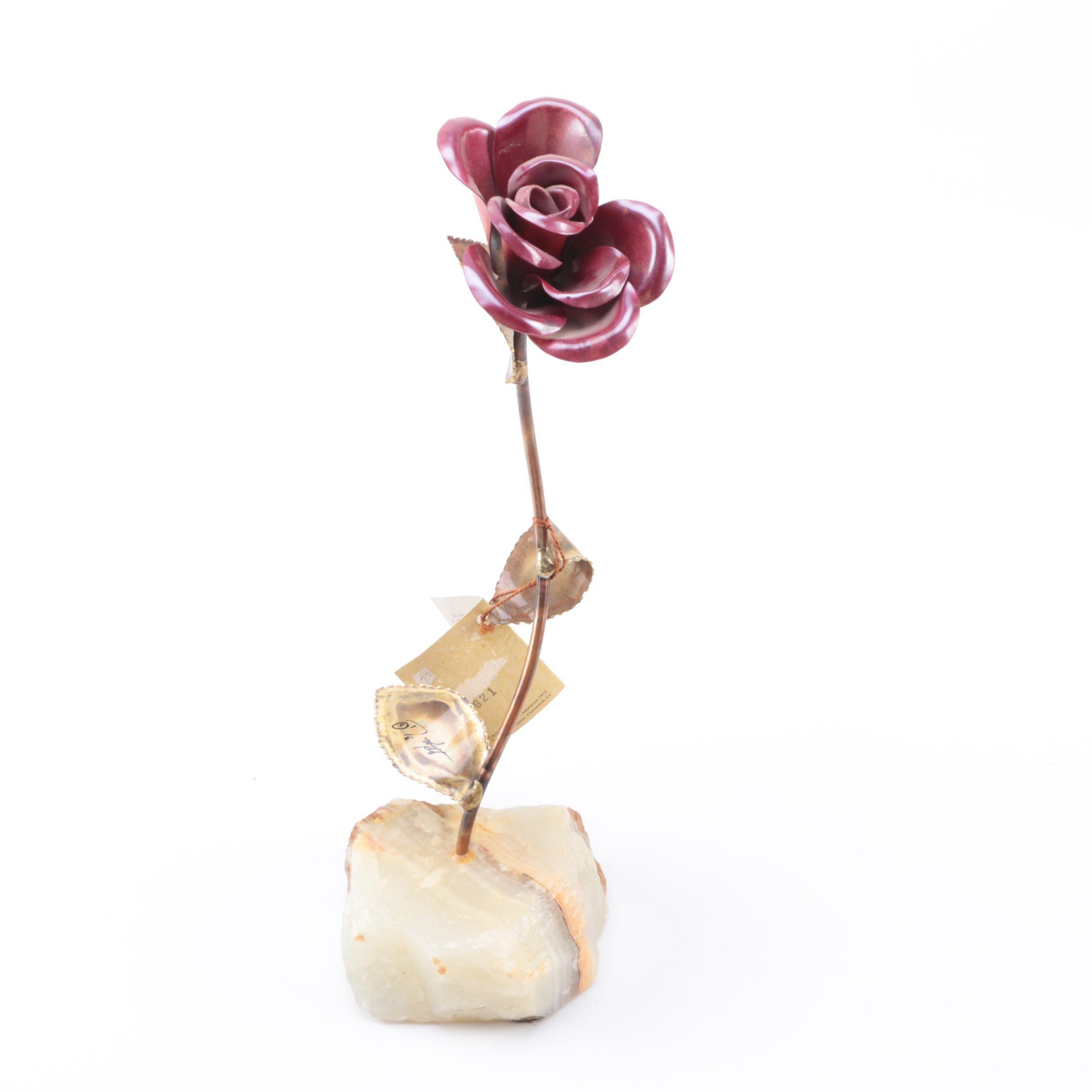 Metal Flower on Agate Base Figurine by DeMott