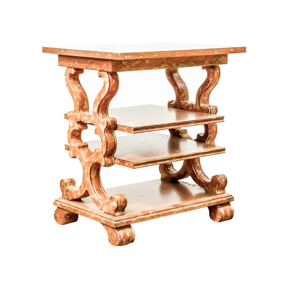 Four-Tier Side Table with Scrolled Supports