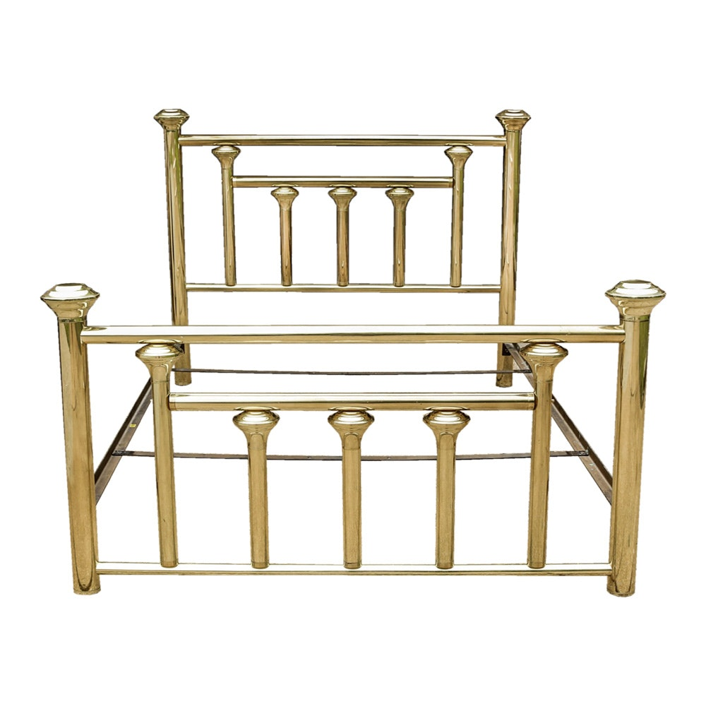 Brass Tone Olympic Queen Size Bed Frame Ebth
