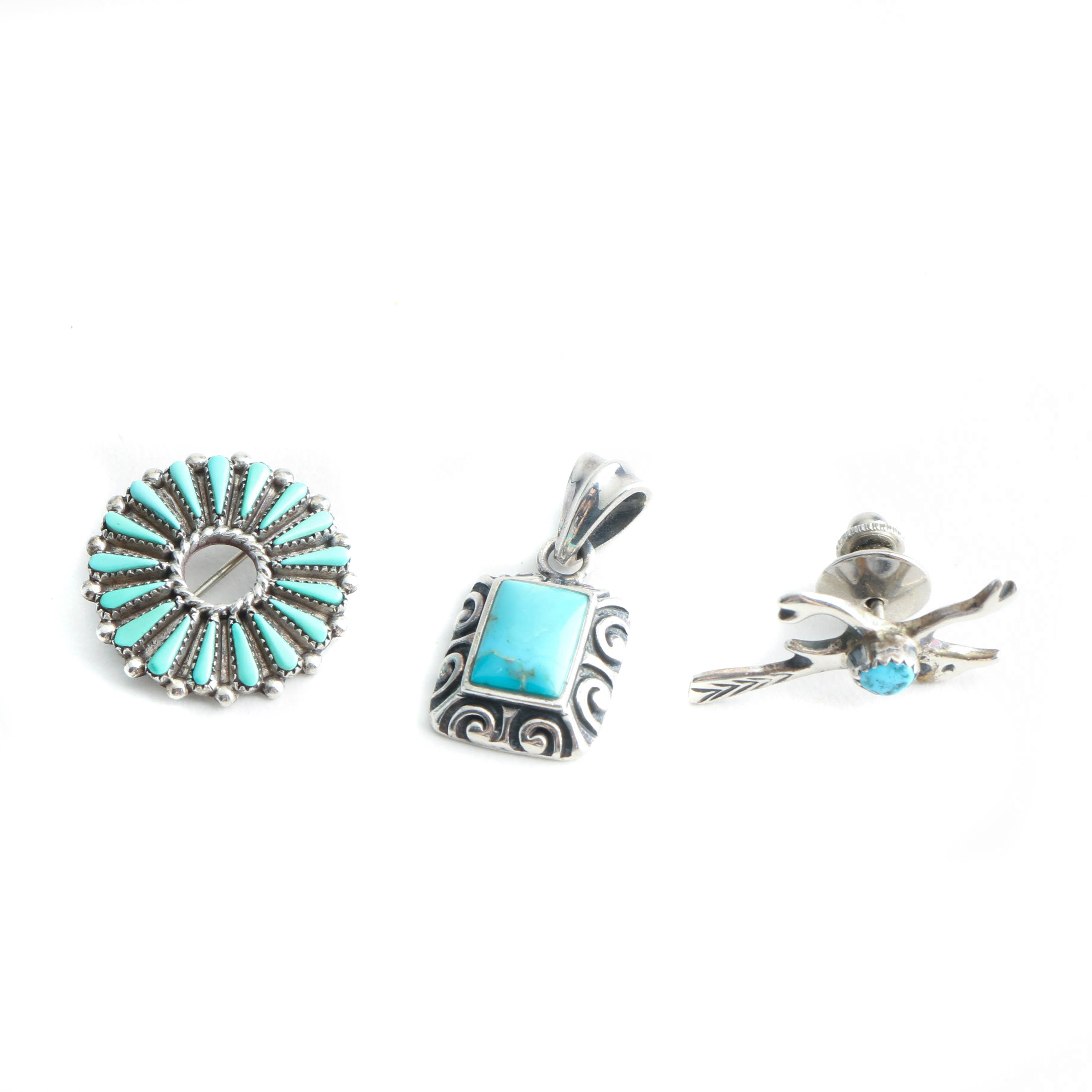 Sterling Silver Turquoise Jewelry Featuring Randy Hooee Zuni Needlepoint