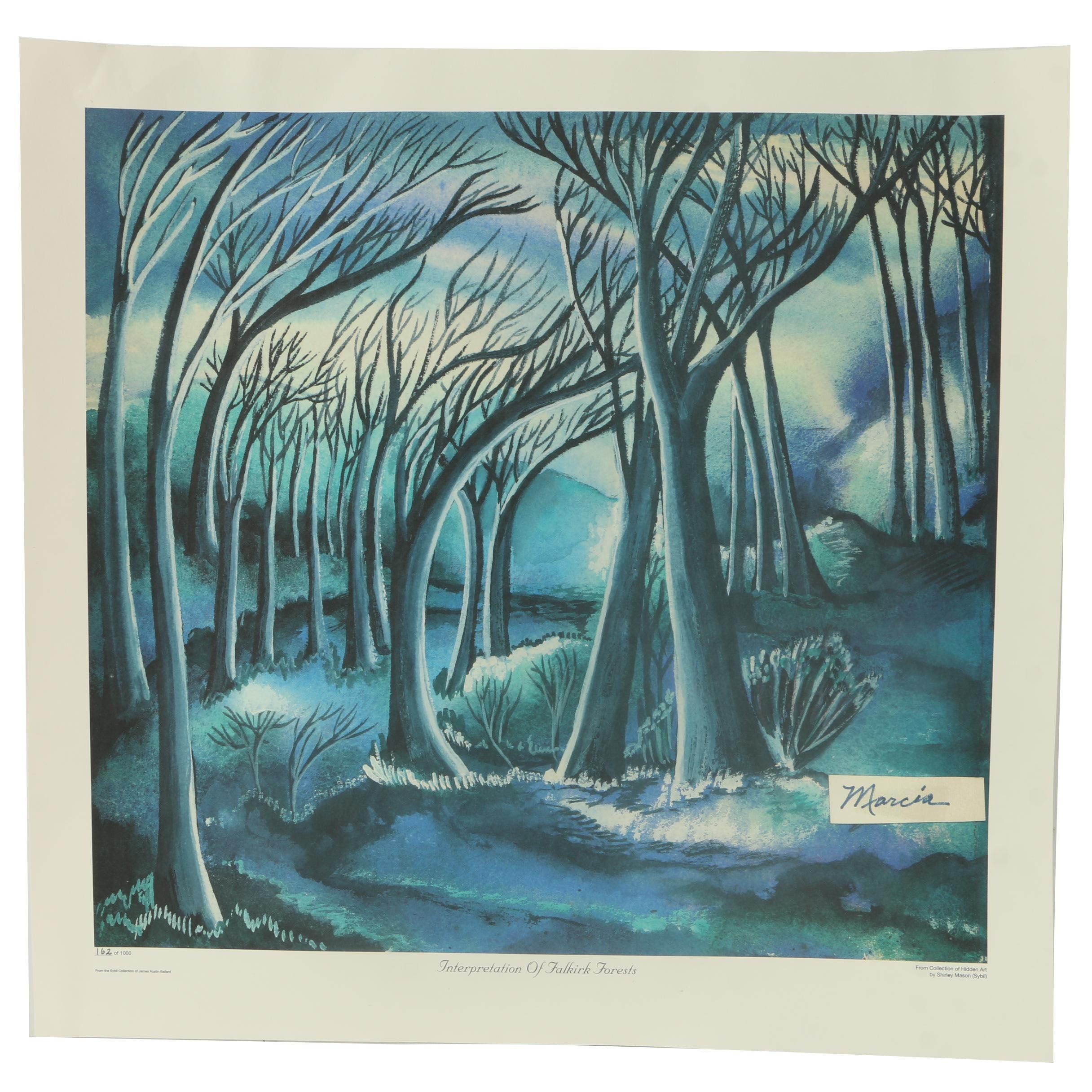 "Shirley Mason/Marcia Limited Edition Offset  ""Interpretation of Falkirk Forests"""