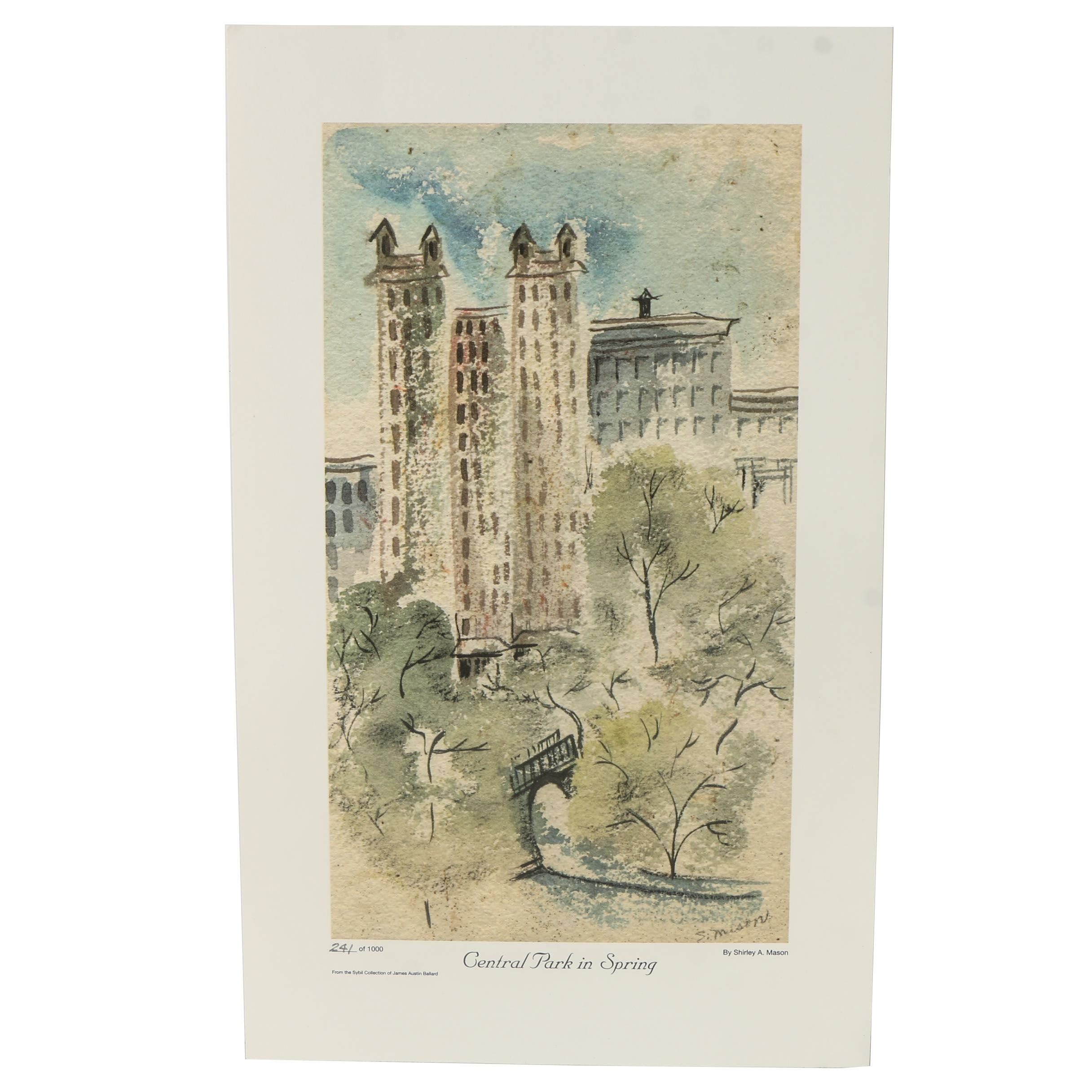 """Limited Edition Offset Lithograph After Shirley Mason """"Central Park in Spring"""""""