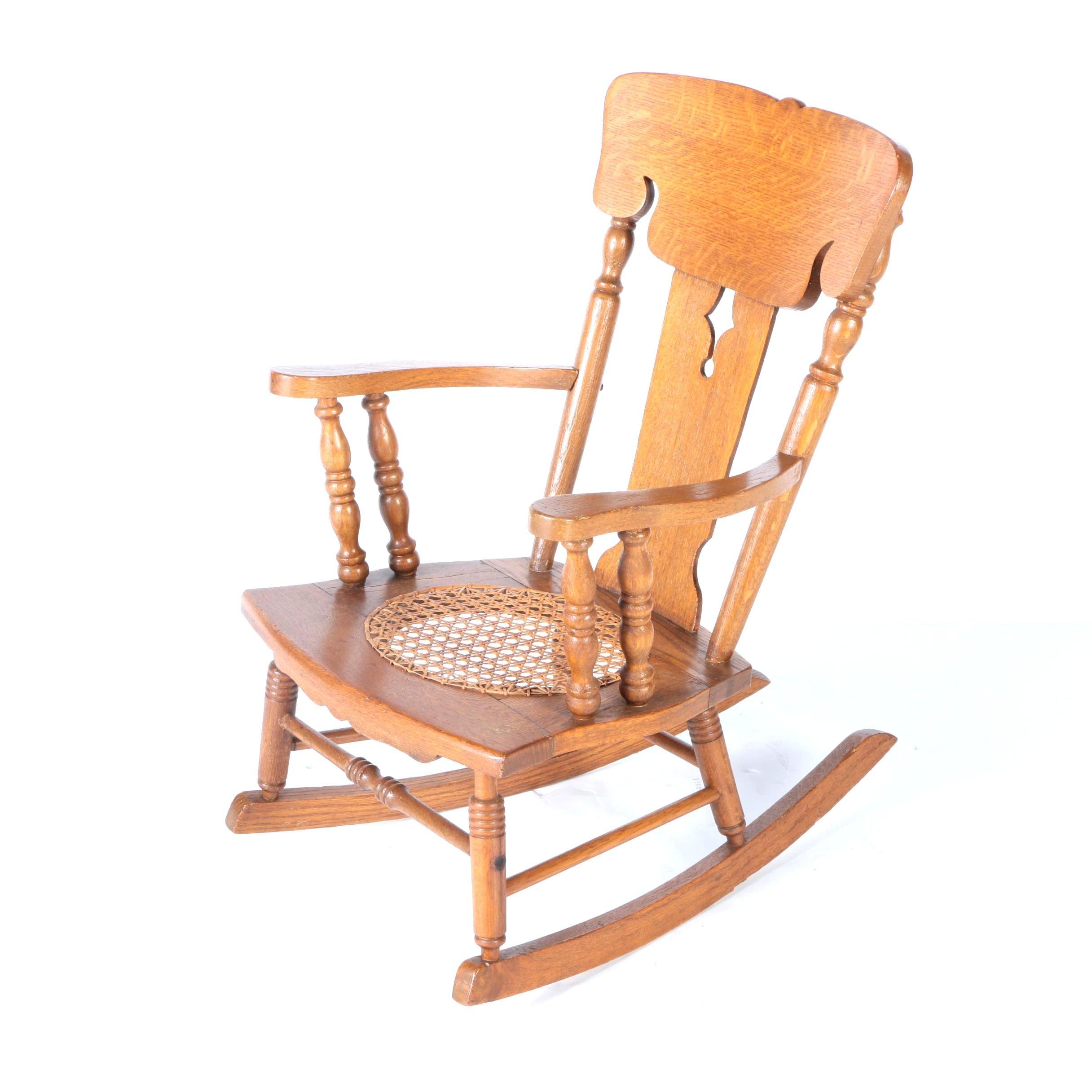 Victorian Style Oak Child's Rocking Chair