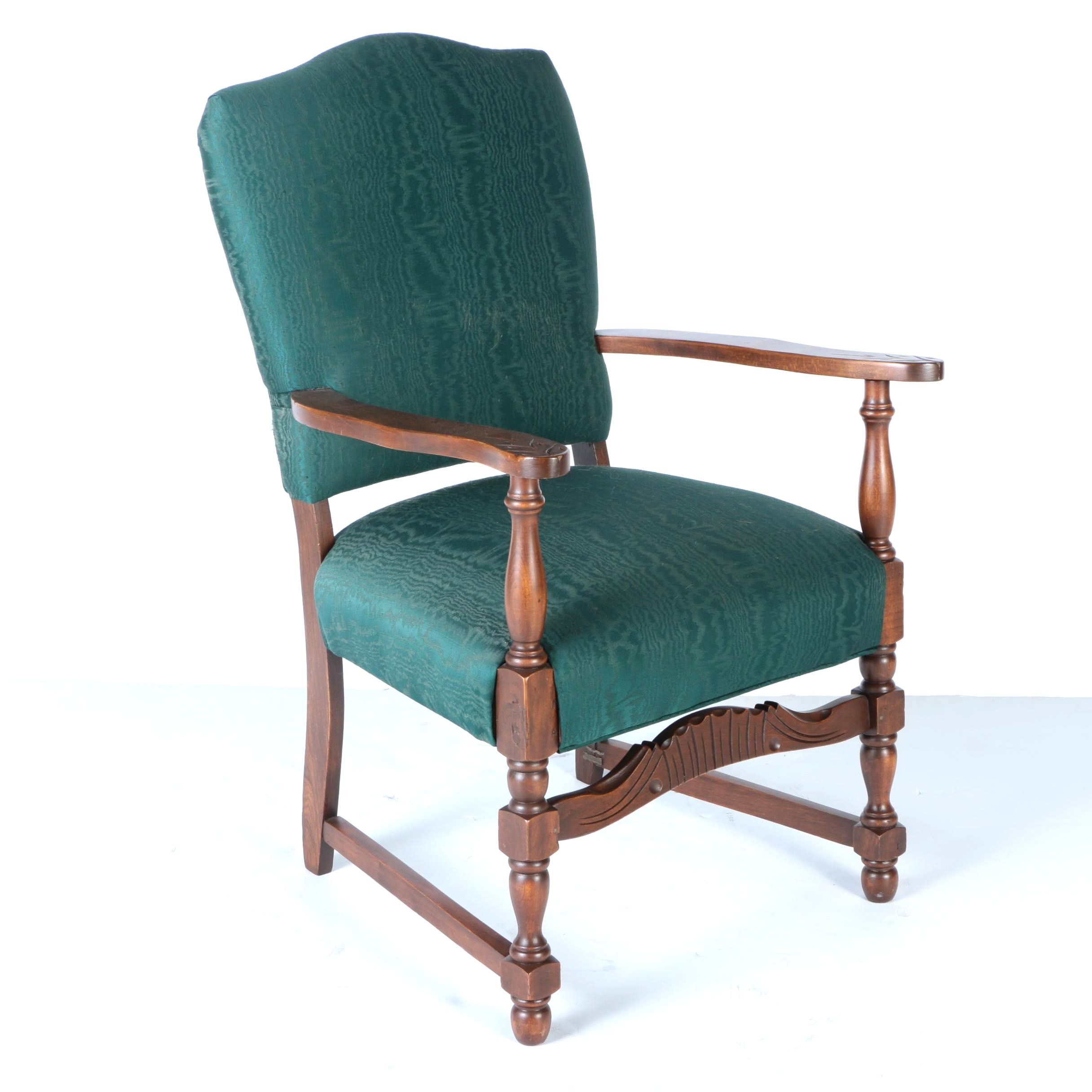 Armchair with Green Upholstery