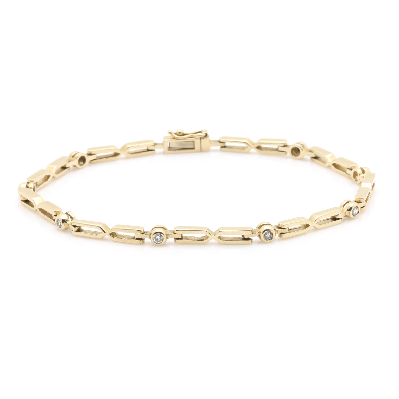 14K Yellow Gold Diamond Chain Link Bracelet