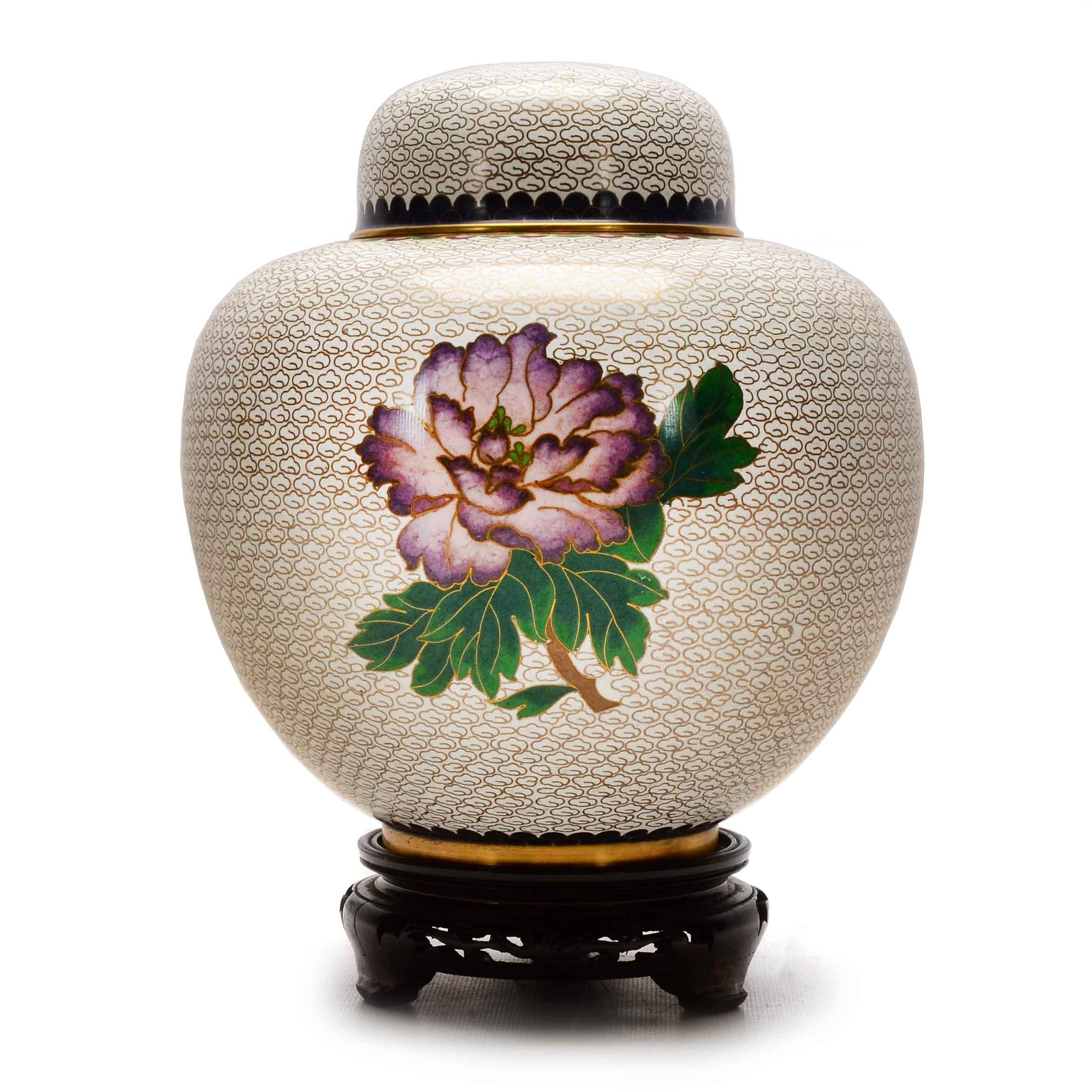 Large Chinese Cloisonné Ginger Jar with Wood Stand
