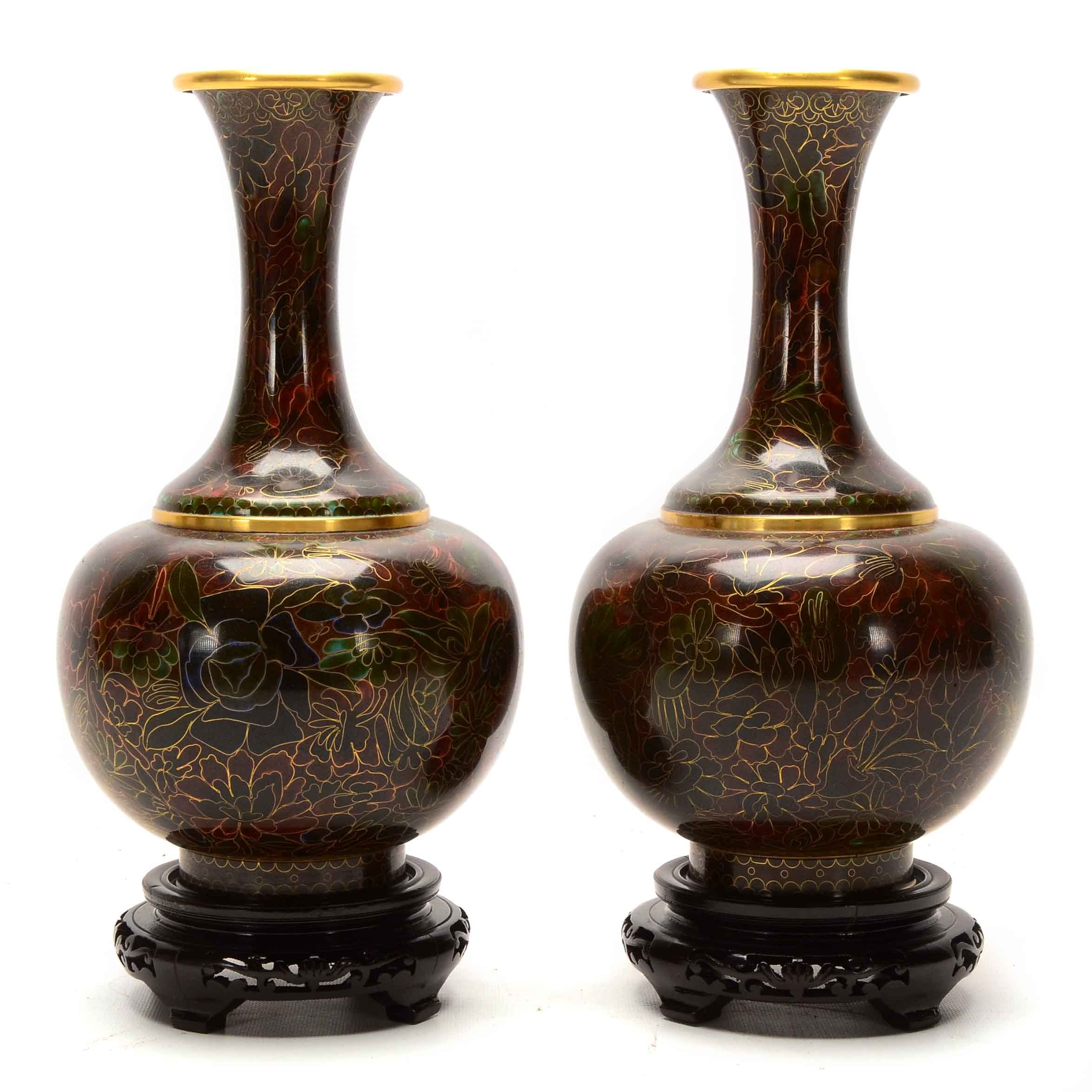 Pair of Chinese Cloisonné Vases with Stands