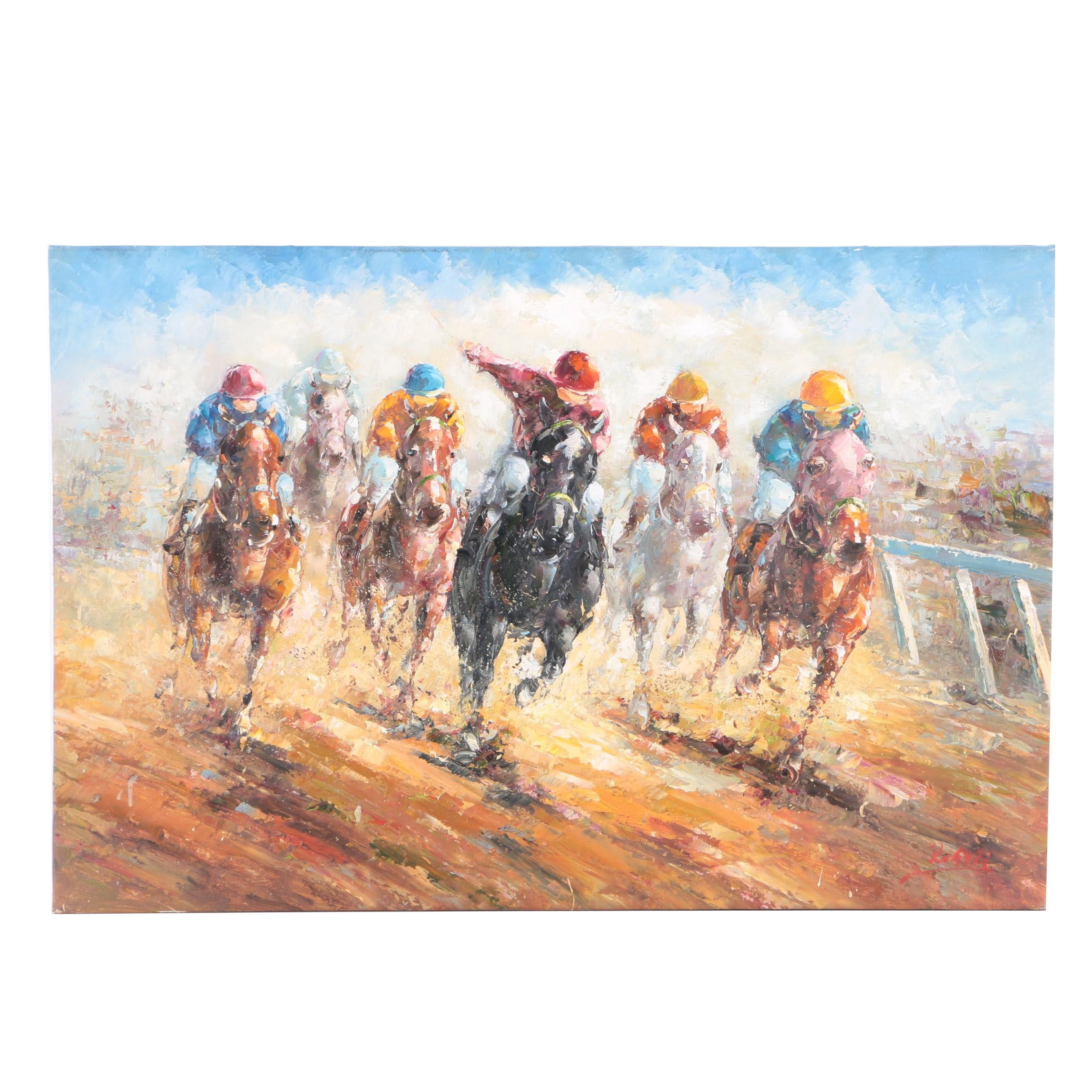 Oil Painting on Canvas of a Horse Race