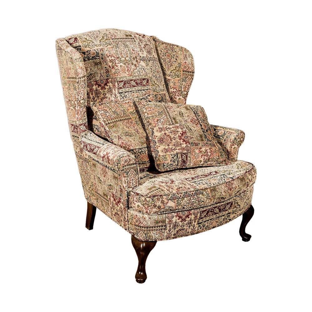 Queen Anne Style Wingback Chair by The Upholstery Company