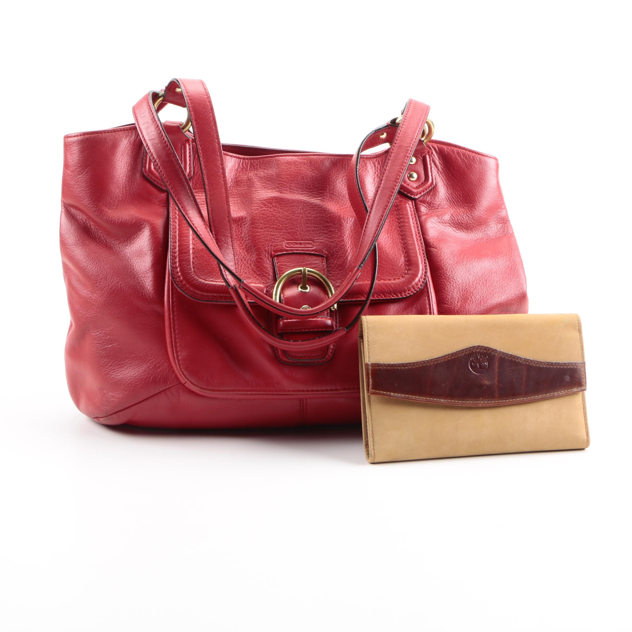 Coach Red Leather Campbell Bag and Timberland Suede Wallet