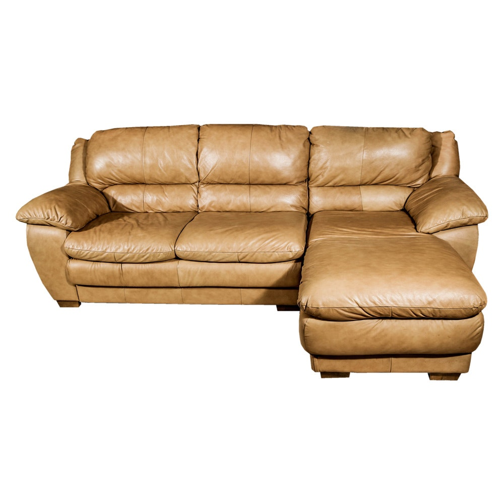 Tan Leatherette Sectional Sofa and Ottoman