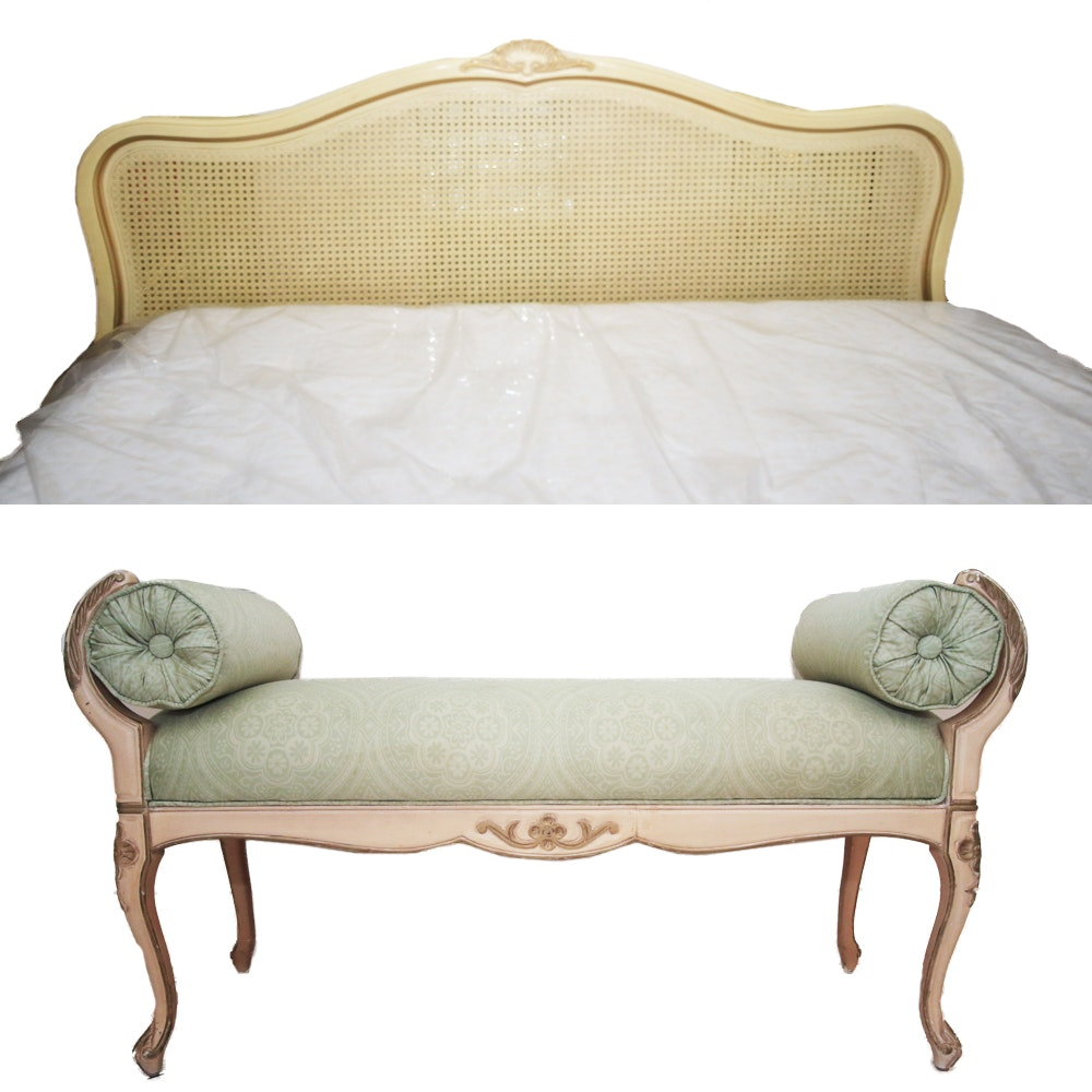 French Provincial Style Cane Headboard and Upholstered Bench