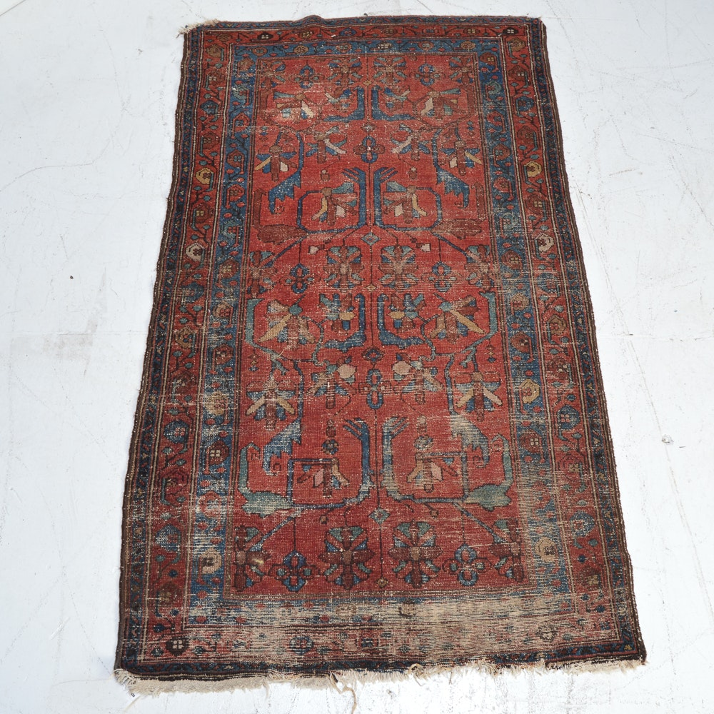Antique Hand-Knotted Persian Area Rug