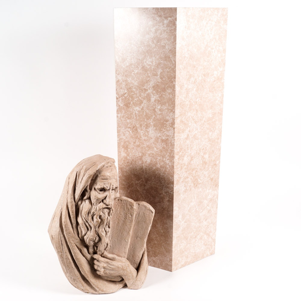 Ceramic Bust of Moses and a Display Pedestal