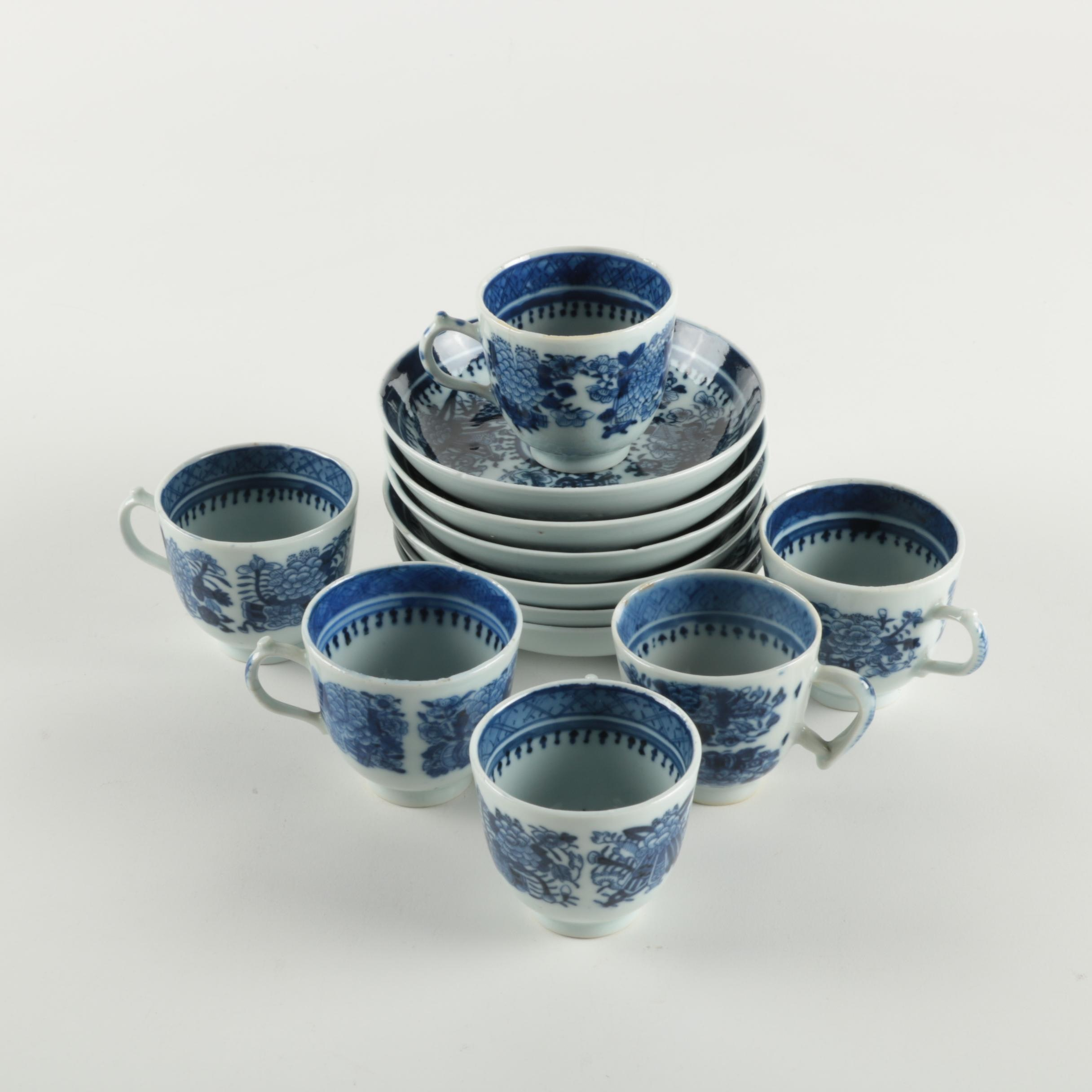 Antique Chinese Export Blue and White Demitasse Set