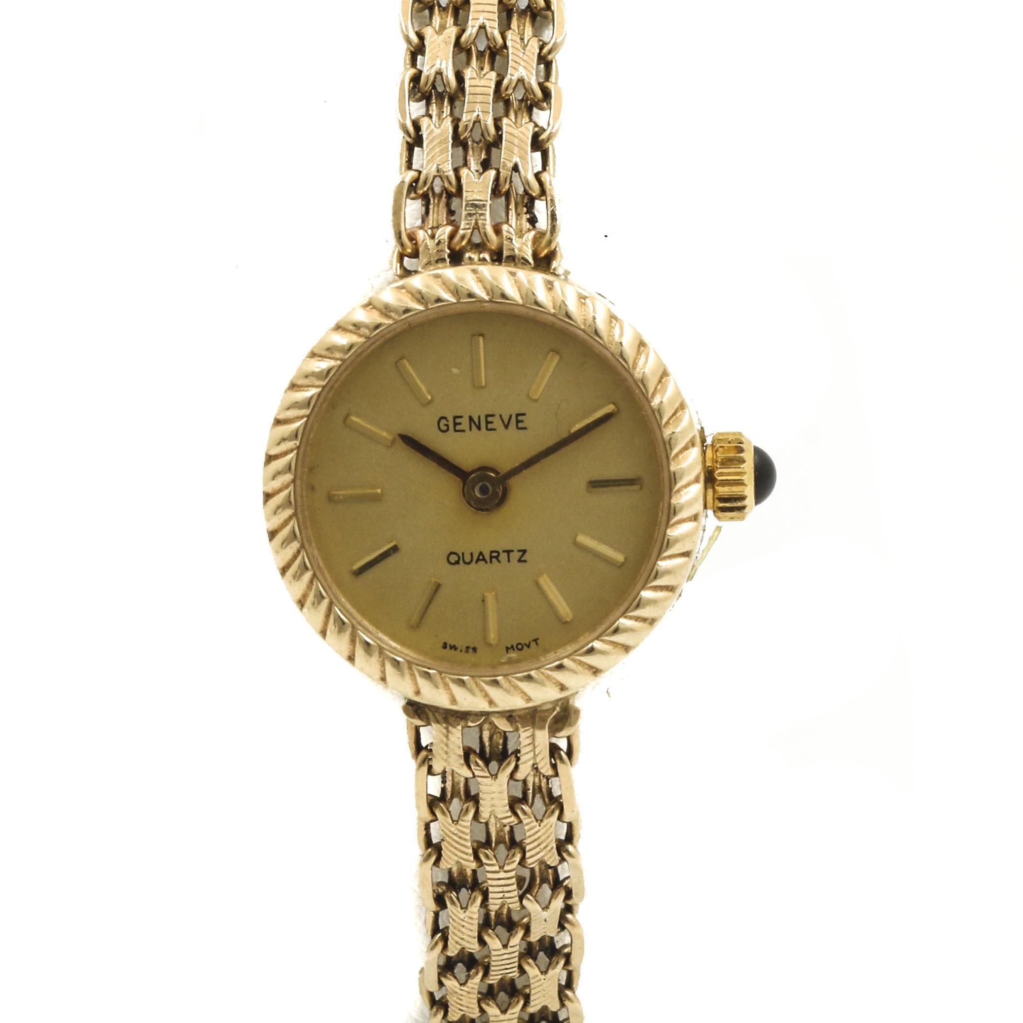 Geneve Quartz 10K and 14K Yellow Gold Analog Wristwatch