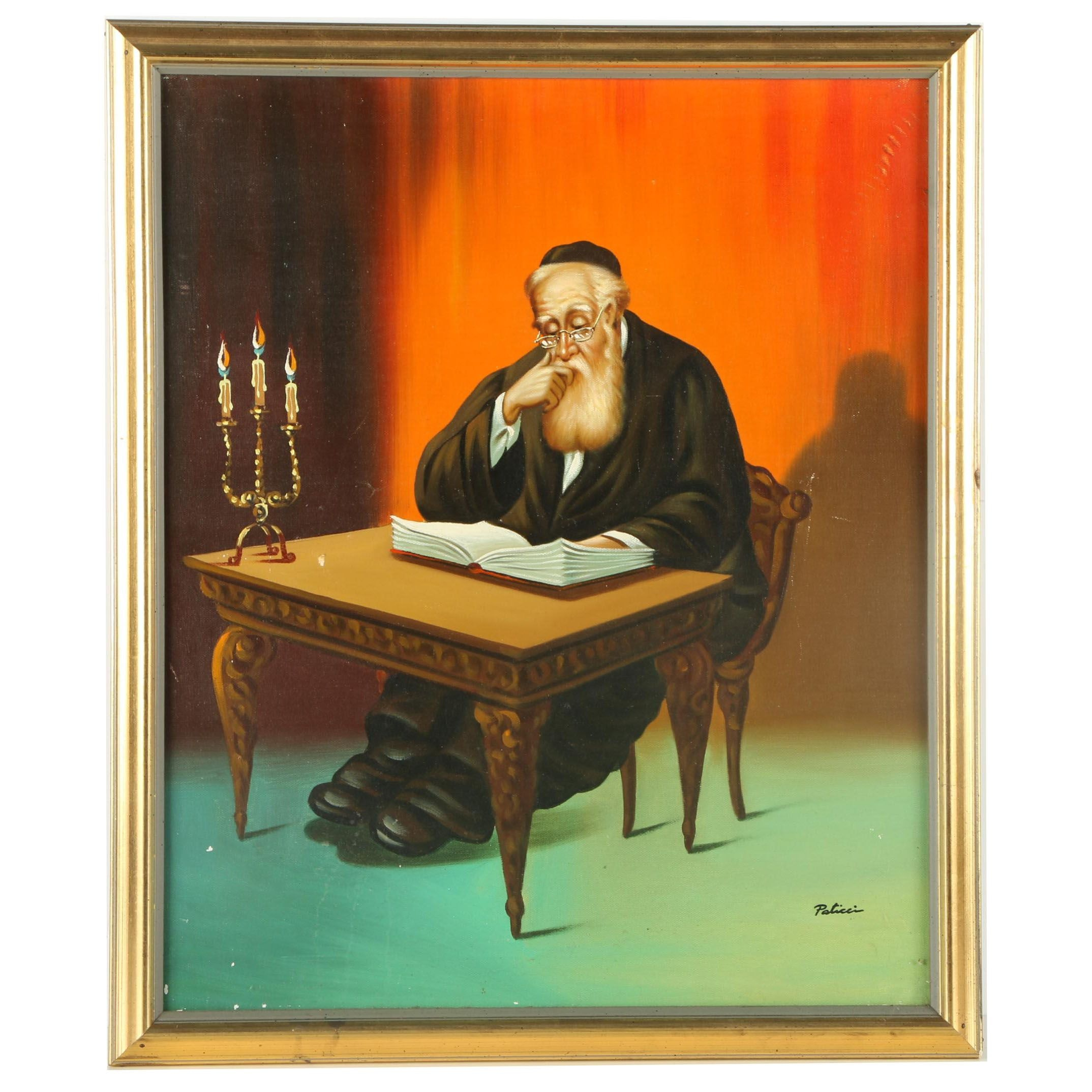 Paticci Oil Painting of a Studying Rabbi