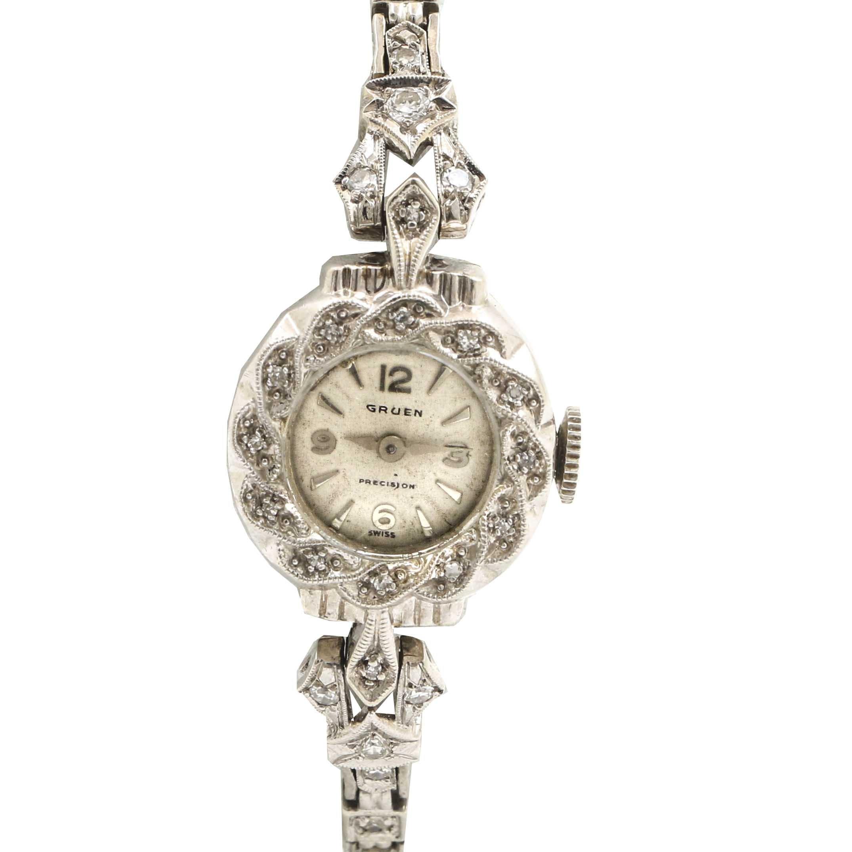 Gruen Precision Swiss Diamond 14K White Gold Wristwatch