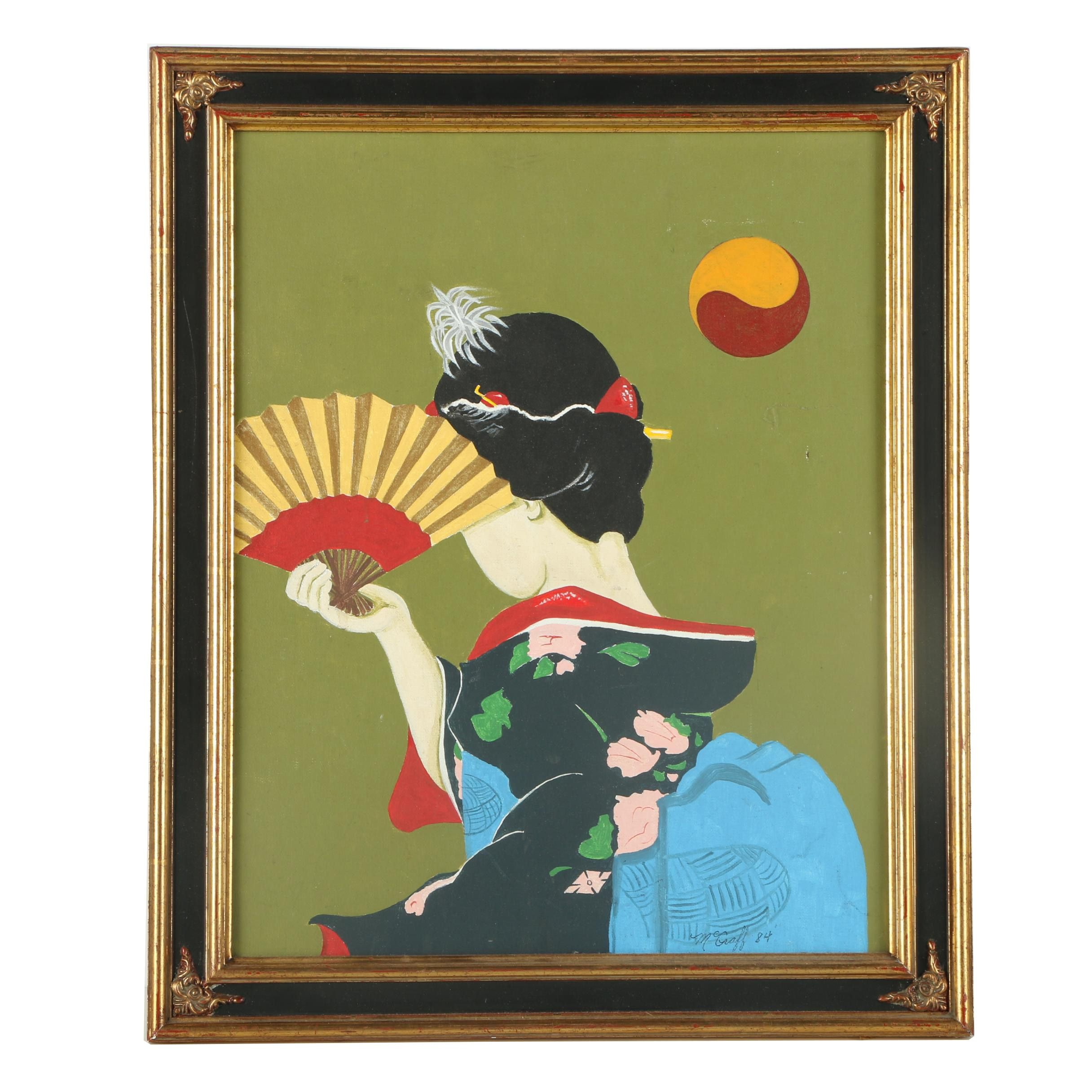 M. Graff Oil Painting on Canvas Board of East Asian Style Composition