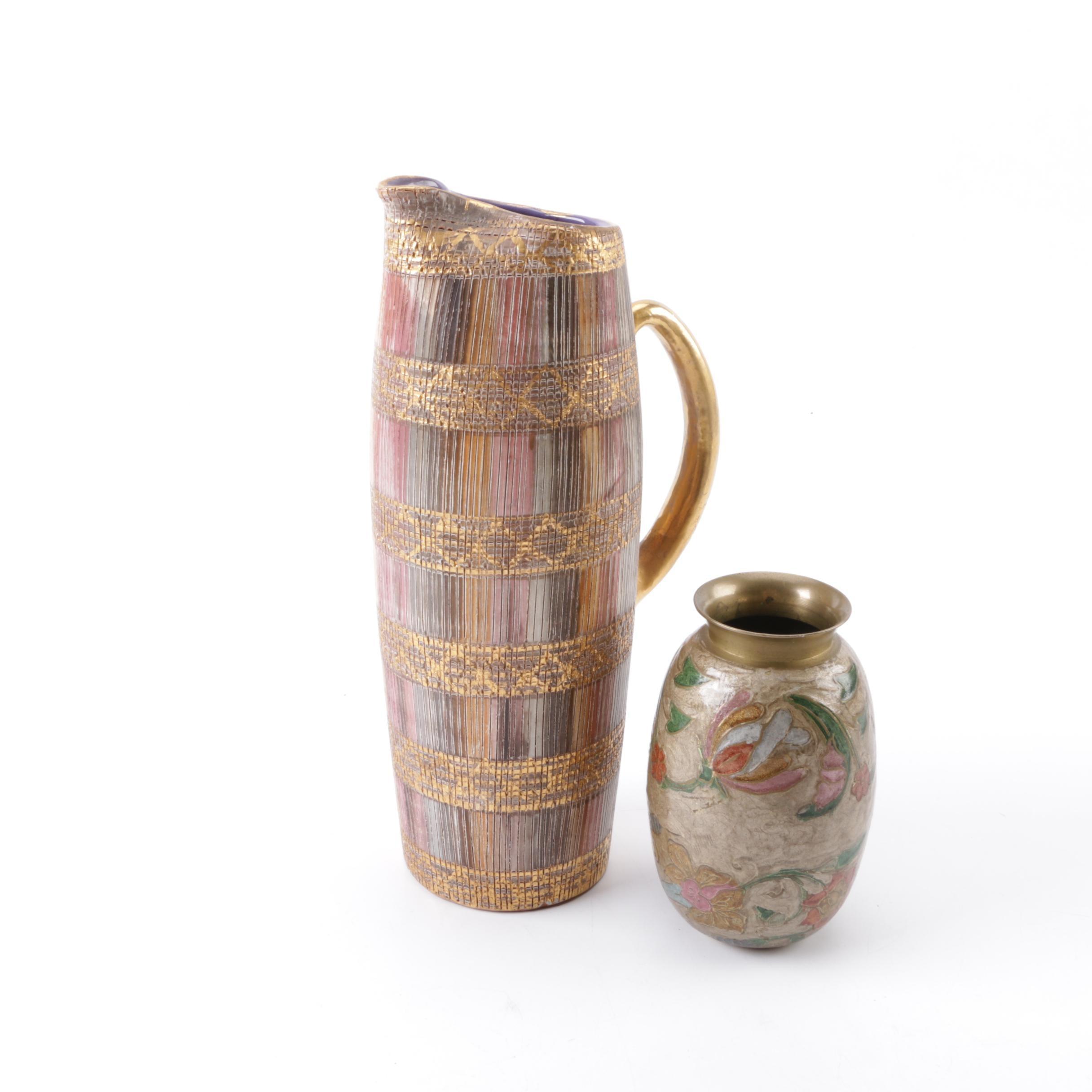 Italian Ceramic Pitcher and Brass Enameled Vase