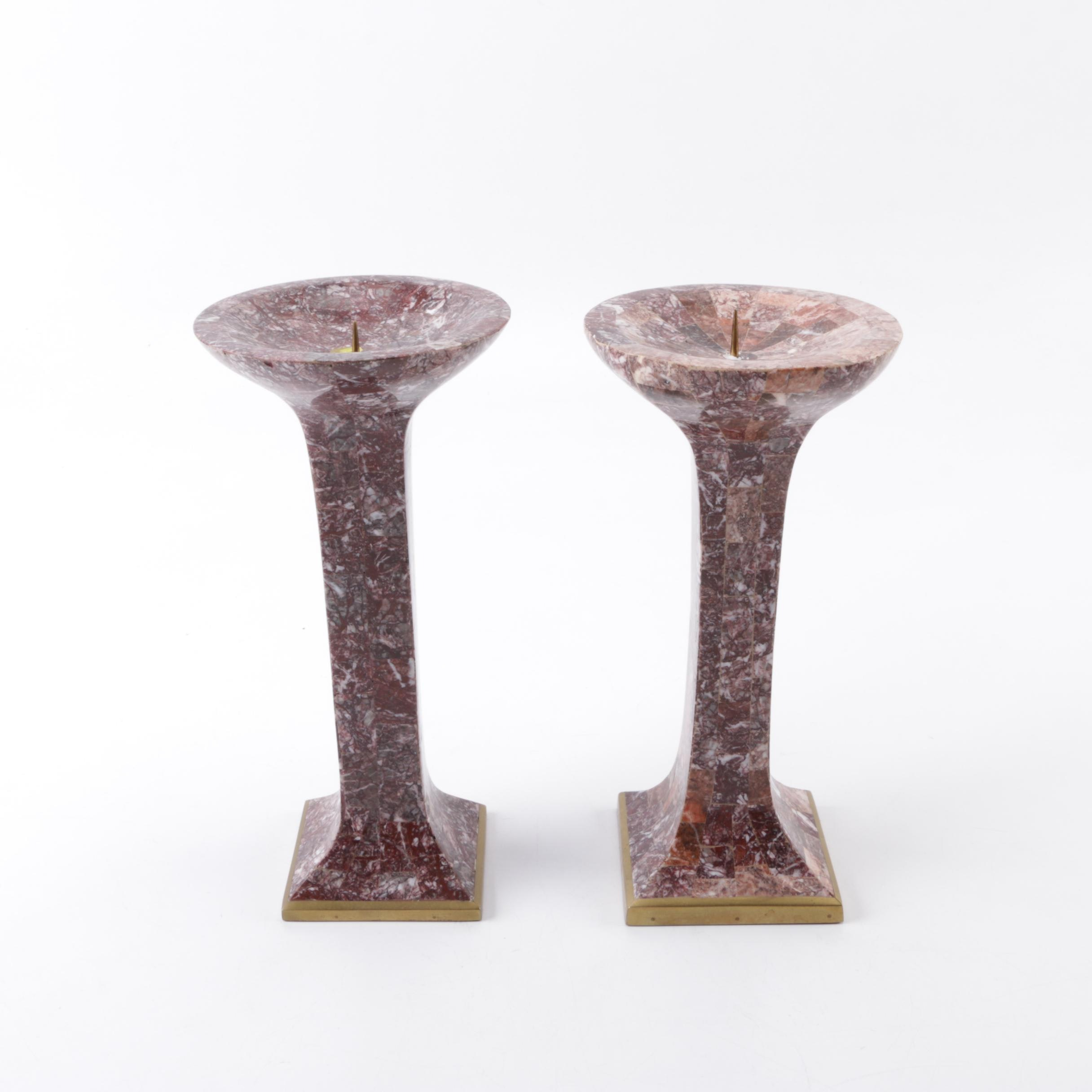 Pair of Marble Inlaid Candle Holders