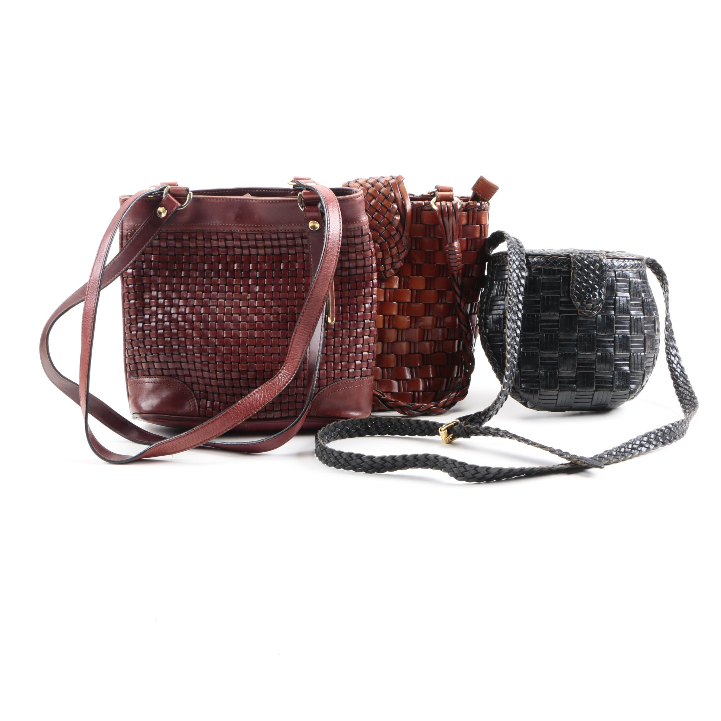 Woven Leather Shoulder Bags Including Diamicci