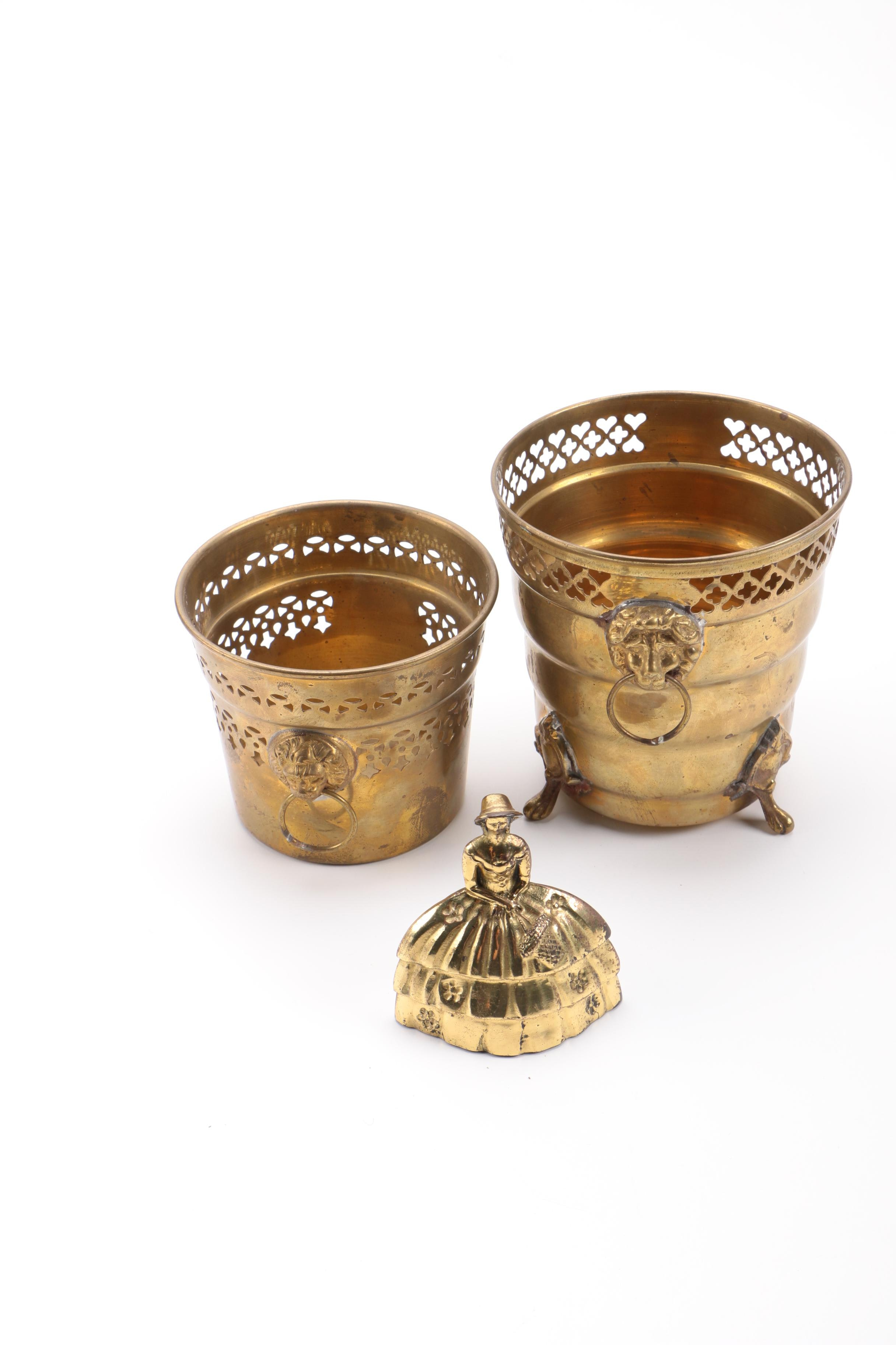Pair of Brass Containers and Brass Woman-Shaped Bell