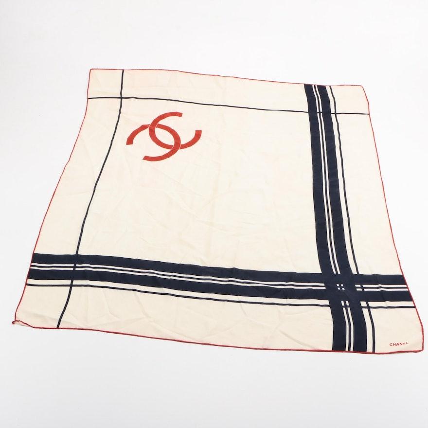 Chanel Initial Monogram Silk Scarf Ebth