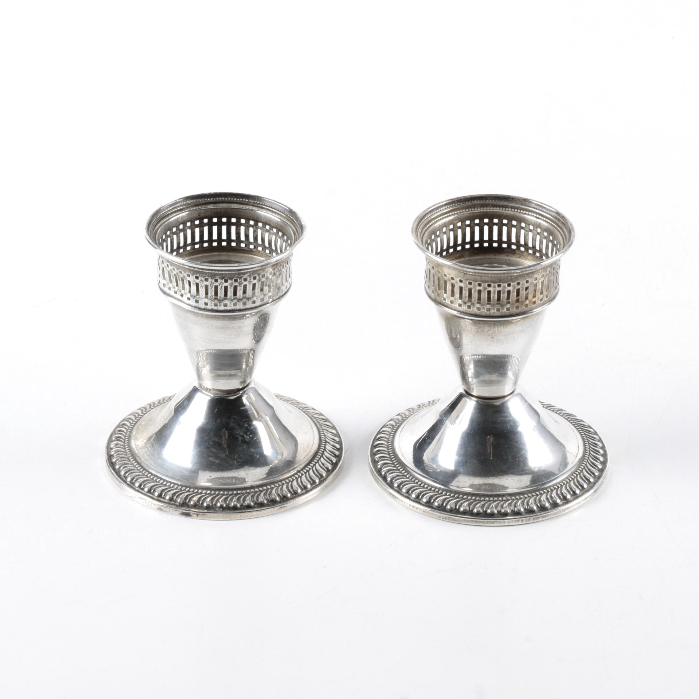 Vintage Pair of Duchin Creation Weighted Sterling Candleholders