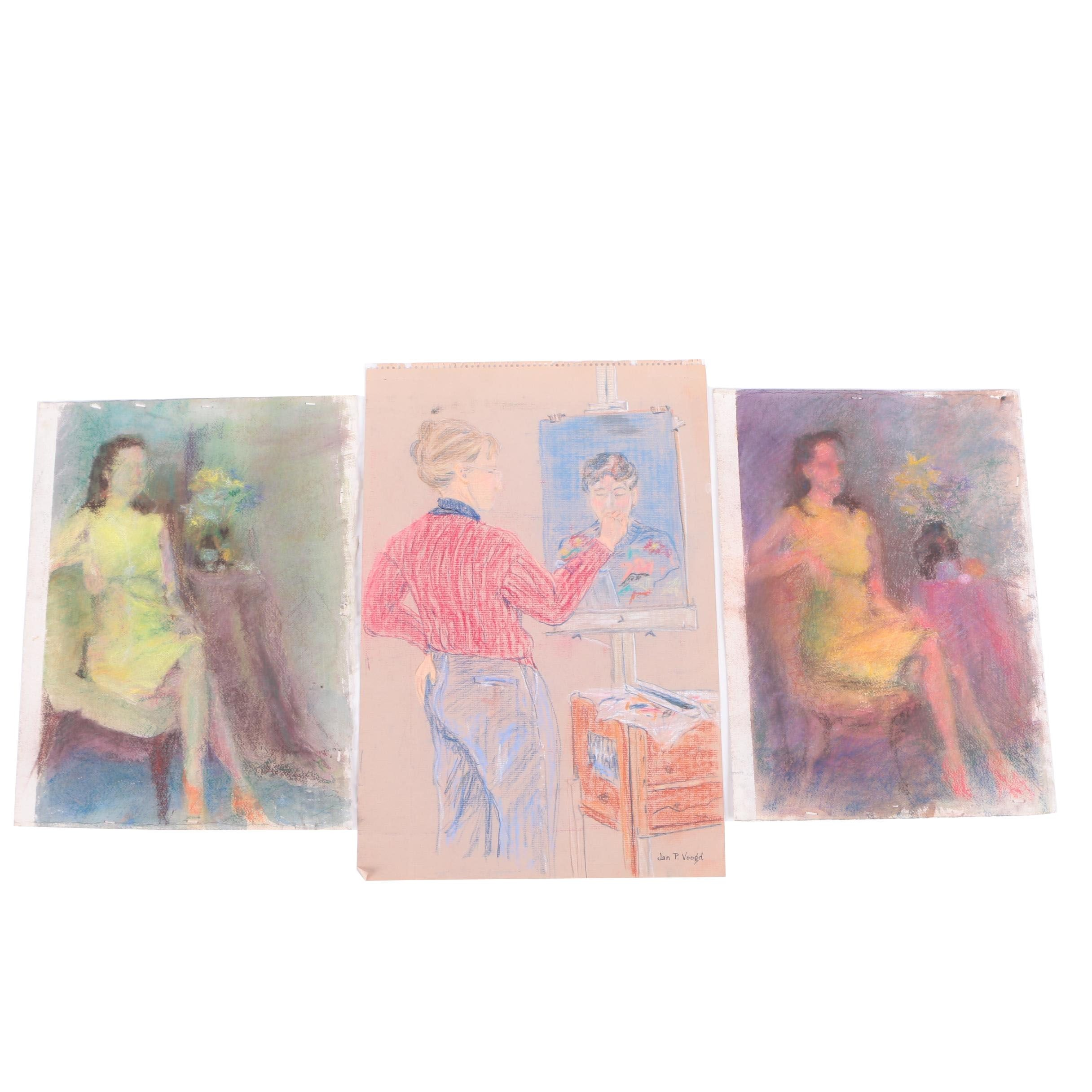 Pastel Drawings of Women Featuring Jan P. Voogd Drawing of an Artist