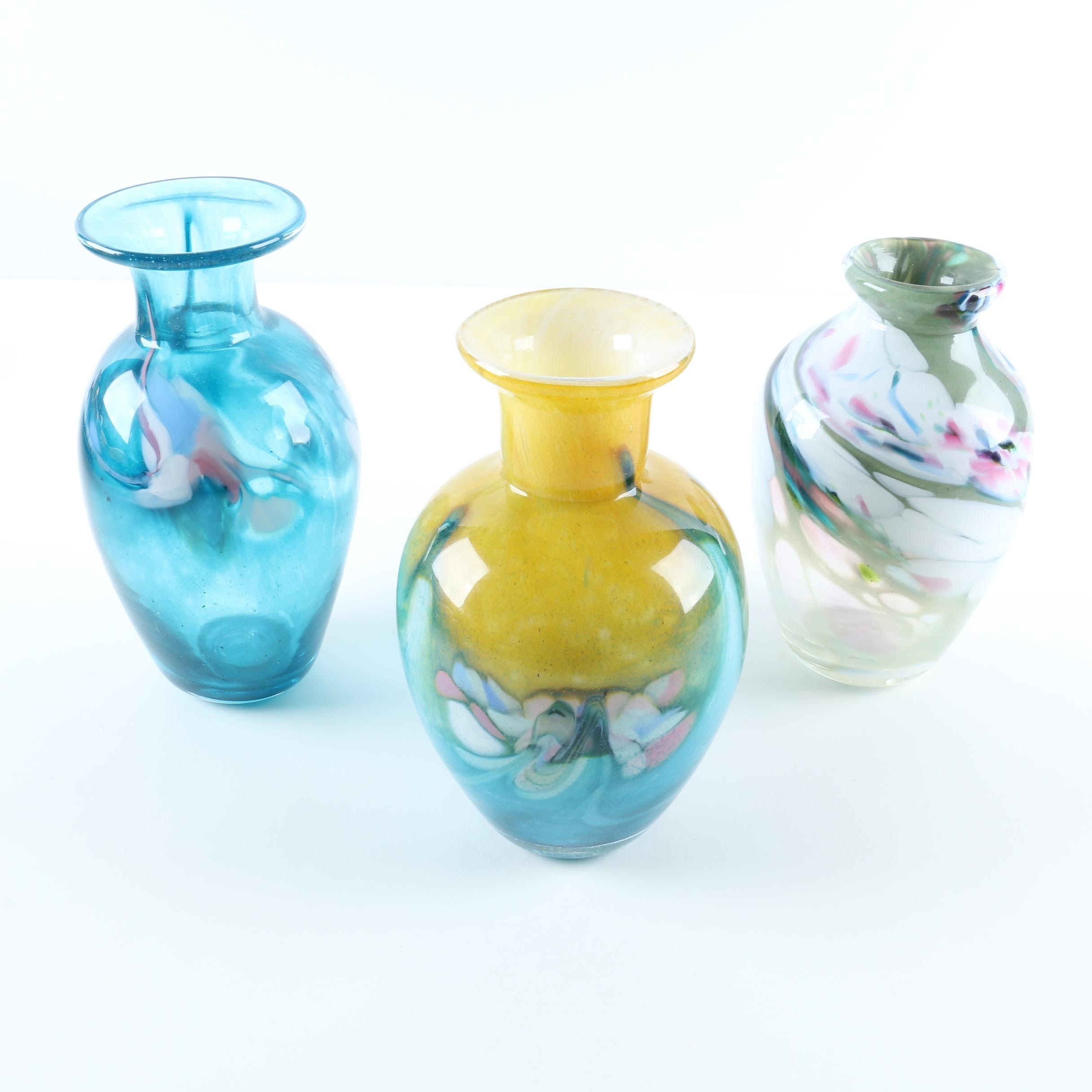 Colorful Handblown Art Glass Bud Vases