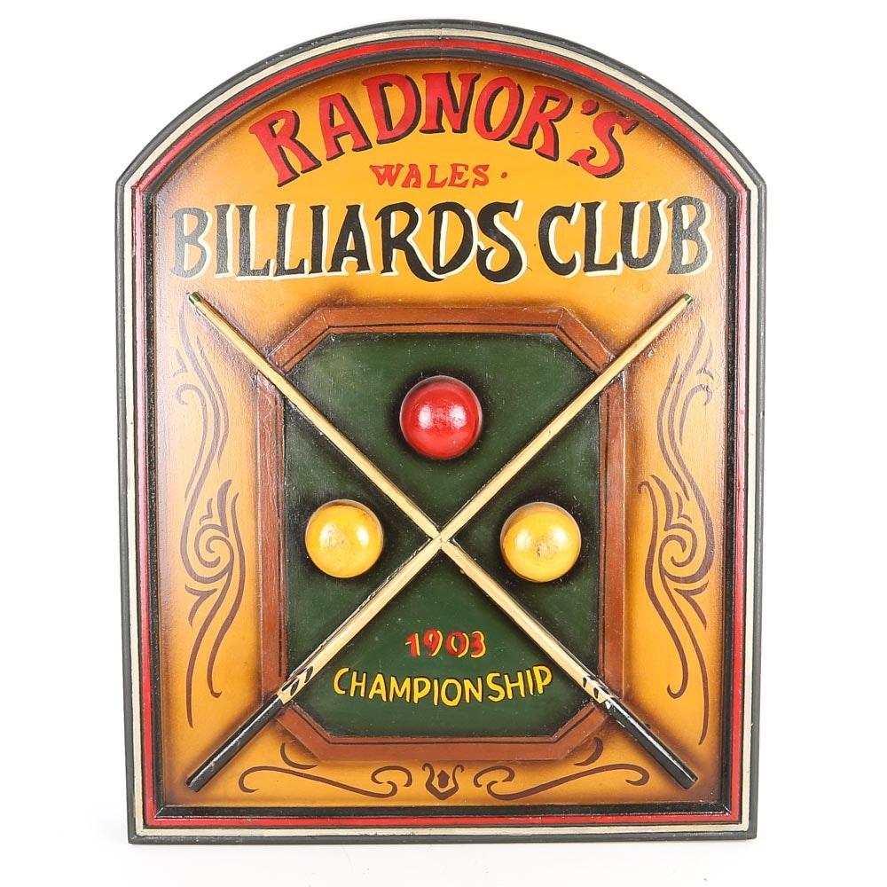 Billiard Themed Wall Plaque