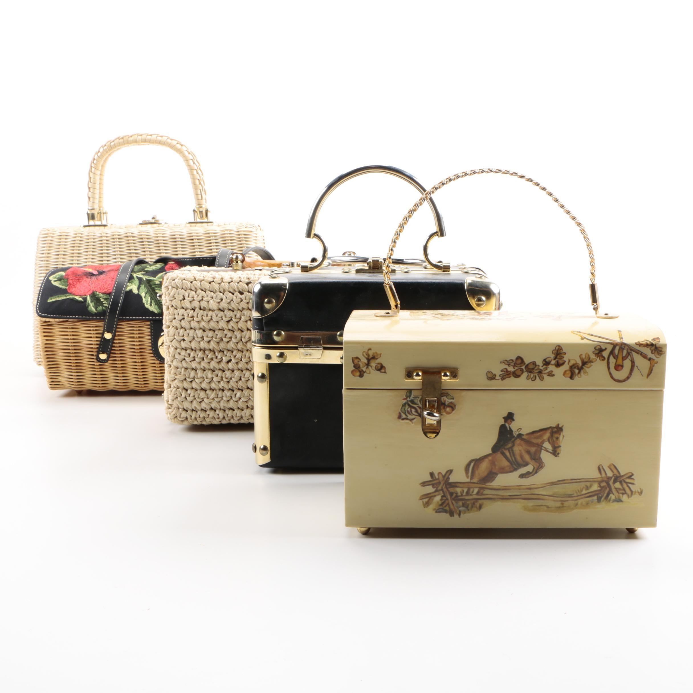 Vintage Handbags and Box Purses Including Fleurette of Miami