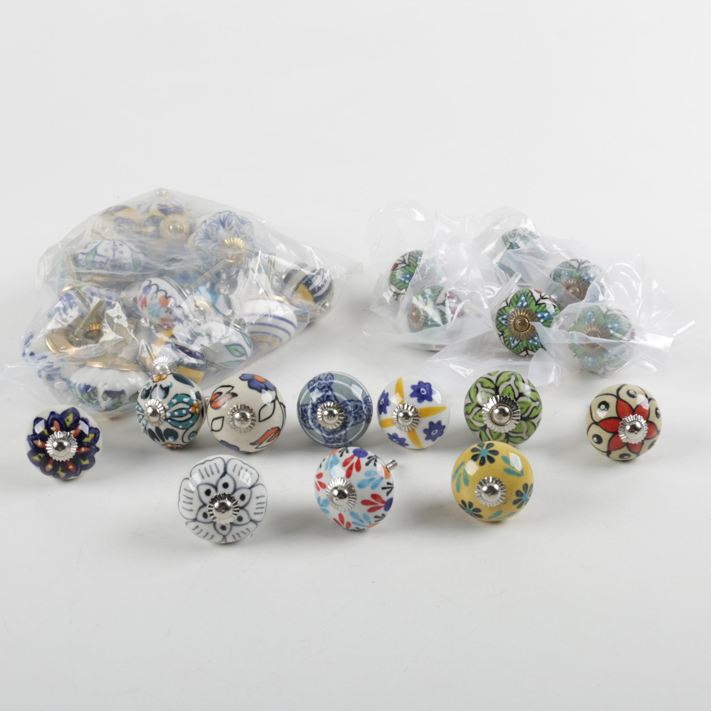 Collection of Hand-Painted Ceramic Knobs