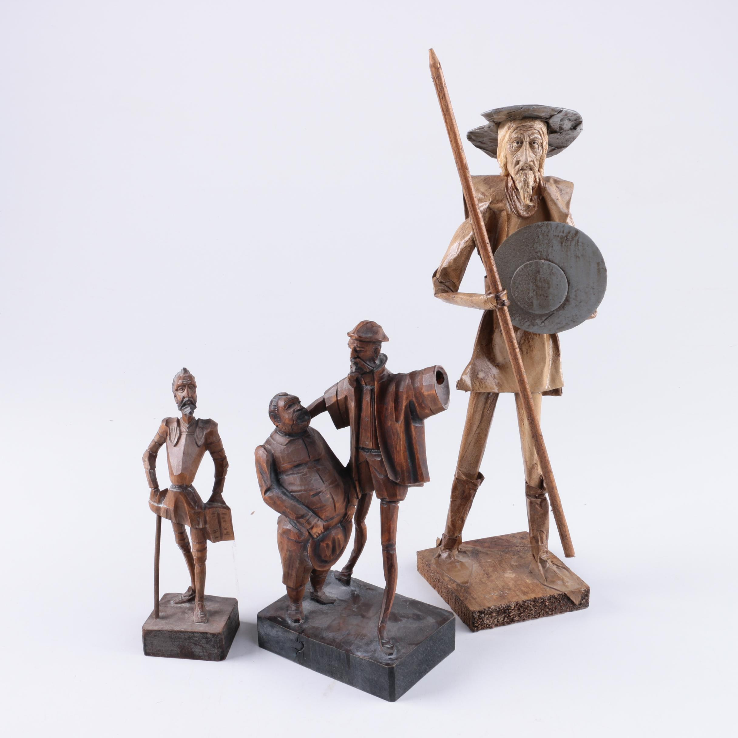 Hand-Carved Wooden Don Quixote Figures Featuring OURO Artesania
