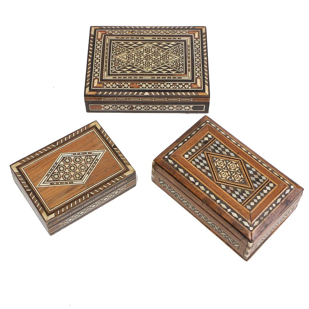 Three Wooden Trinket Boxes
