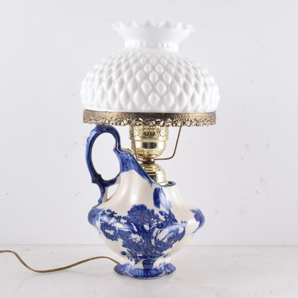 Ironstone Pitcher Parlor Lamp with Hobnail Shade
