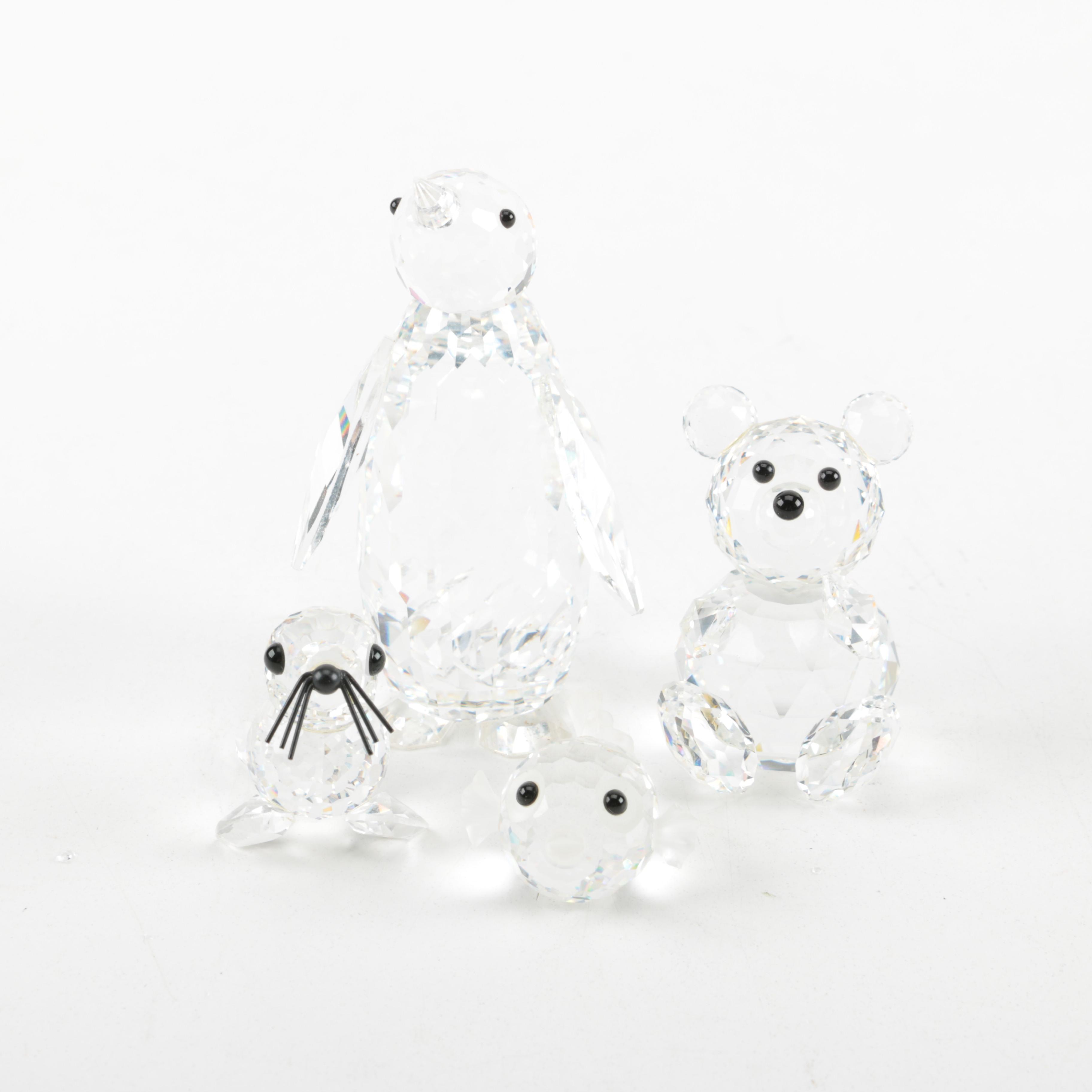 Four Swarovski Animal Figurines Including Puffer Fish