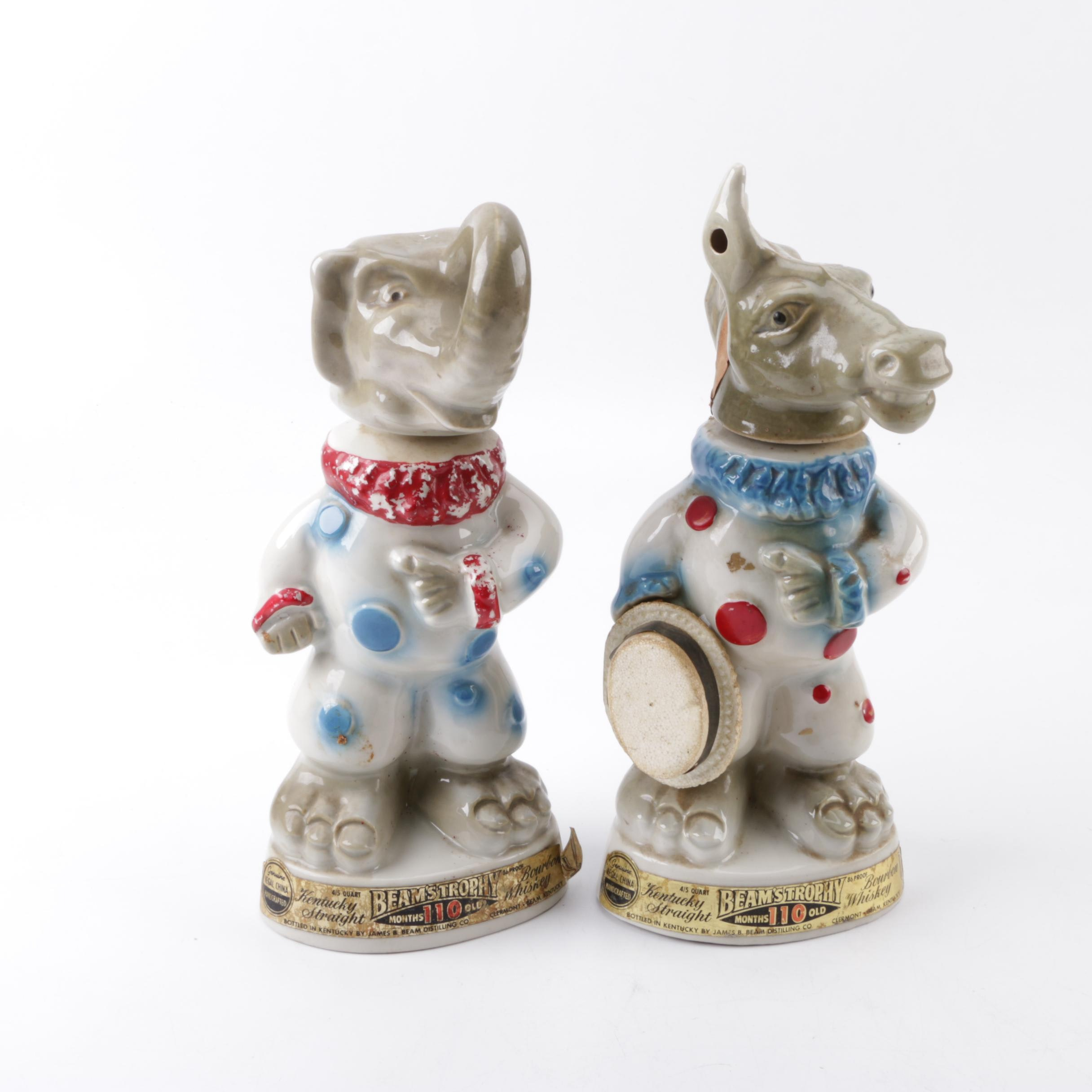 "1968 Vintage ""Donkey and Elephant"" Jim Bean Decanters"