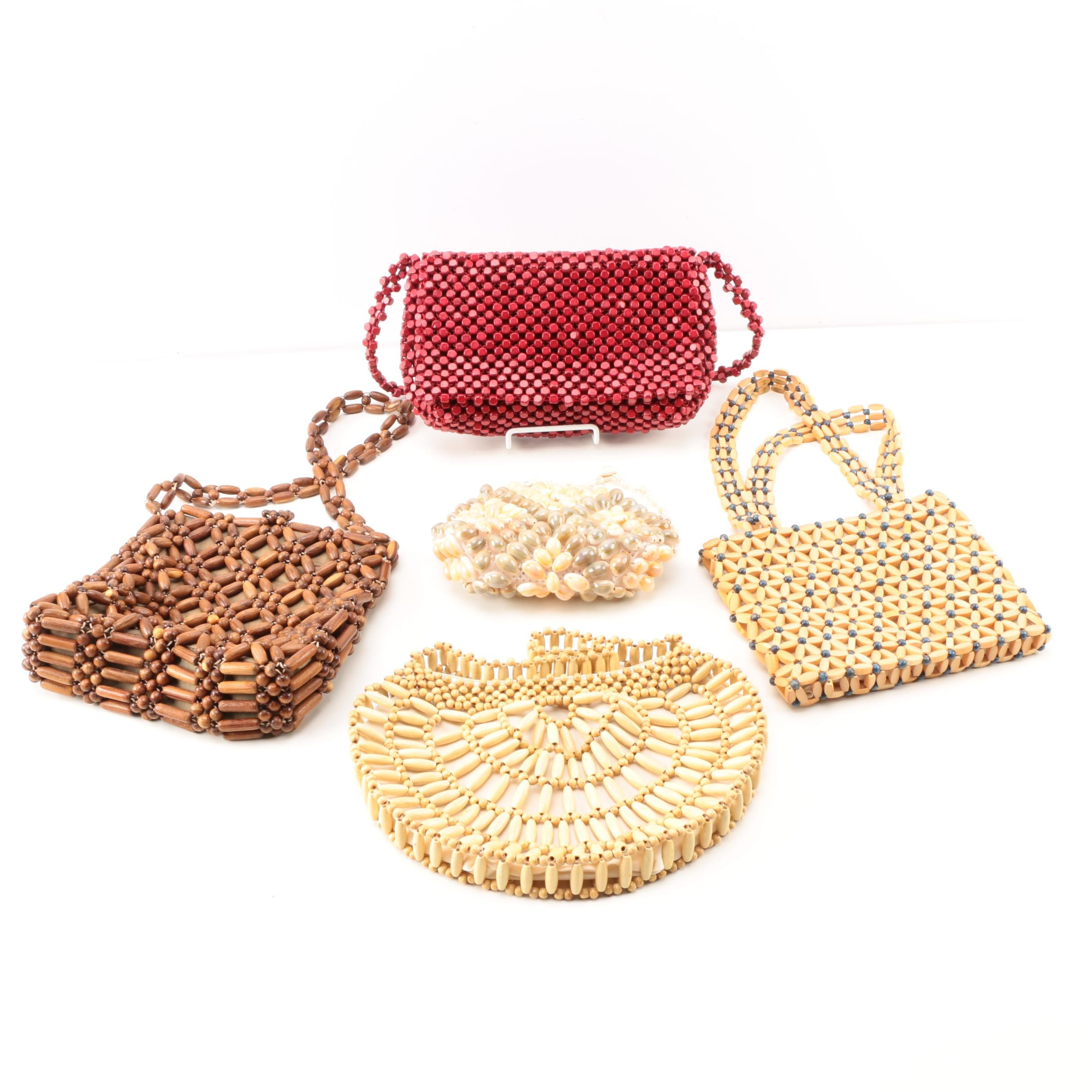 Vintage Wooden and Shell Beaded Handbags