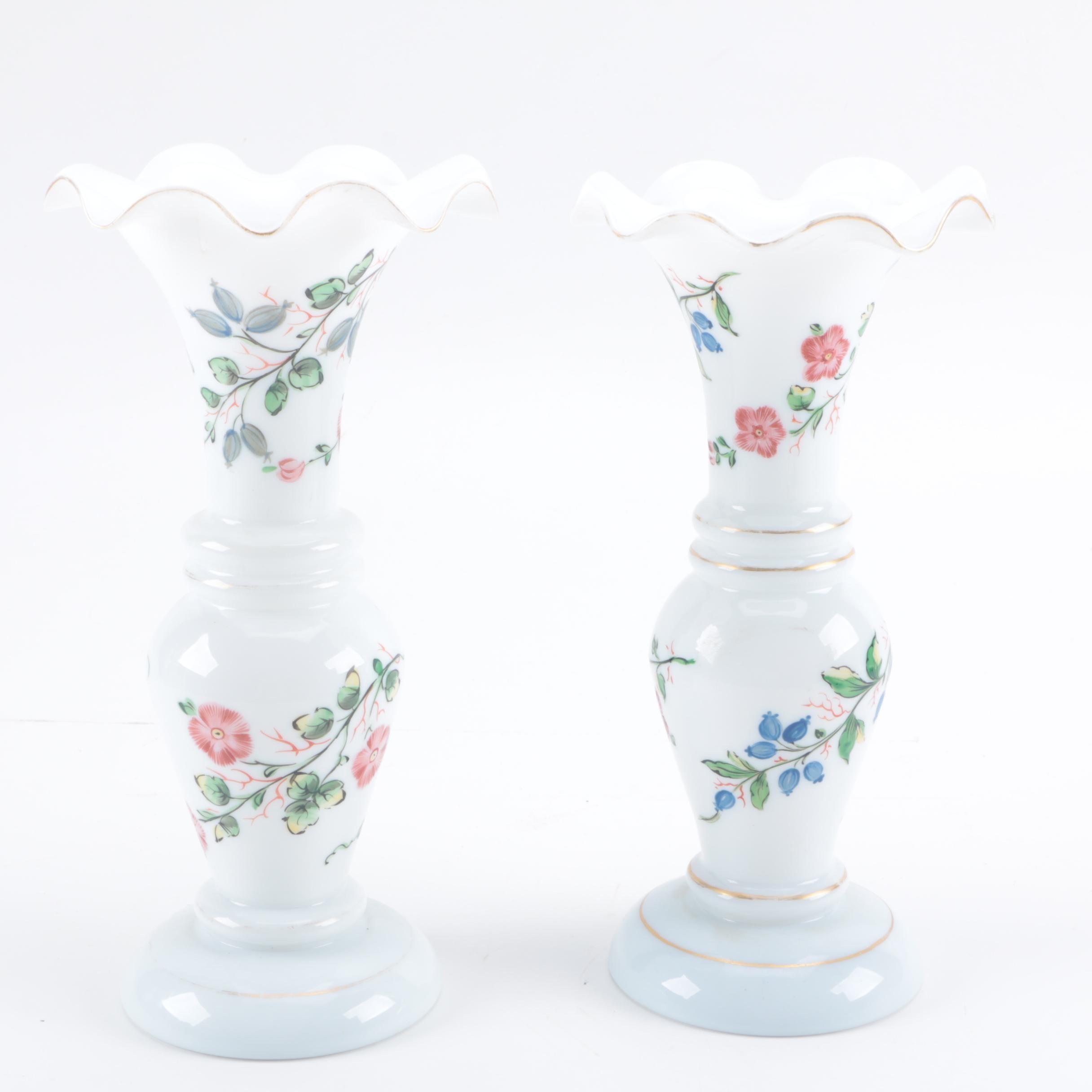 Handpainted Blown Milk Glass Vases