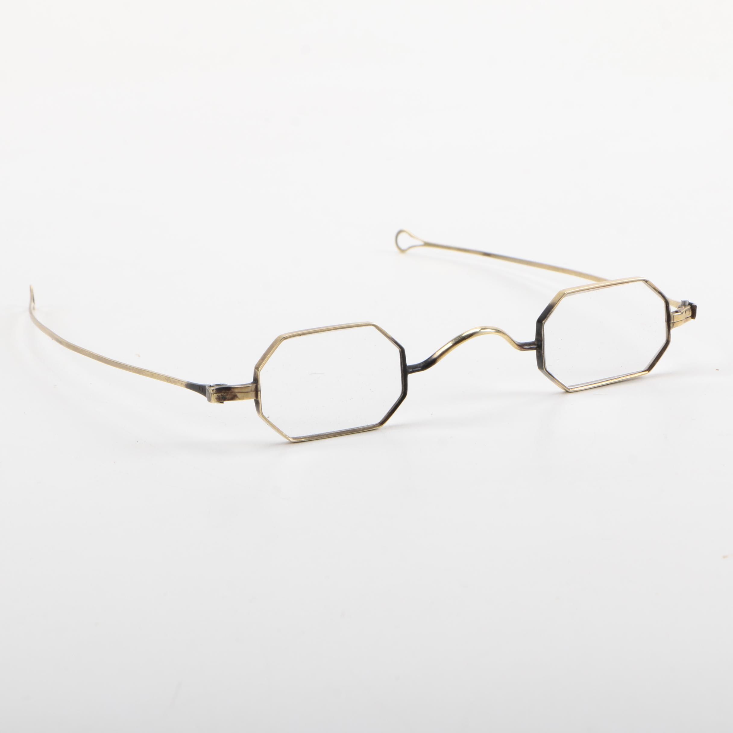 Mid 19th Century Brass Framed Octagonal Reading Glasses with Leather Case