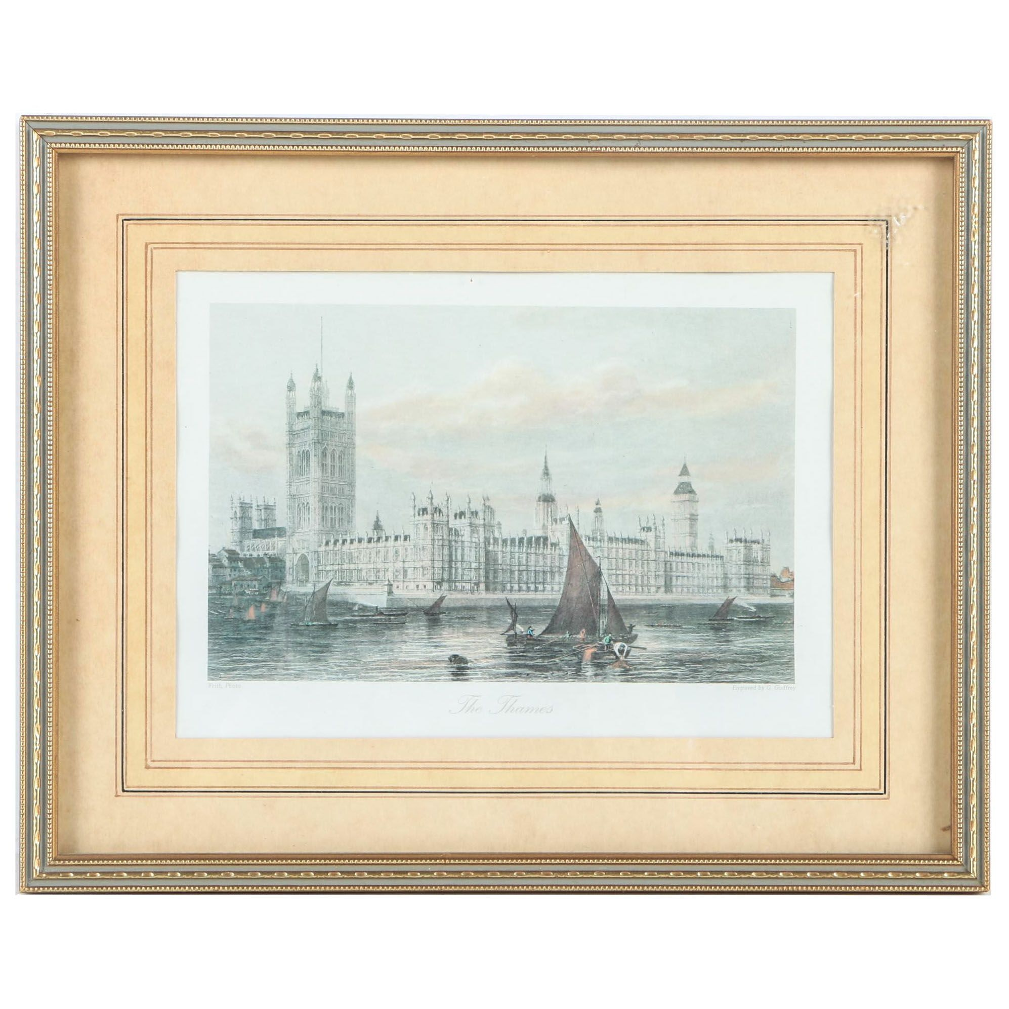 "Offset Lithograph After G. Godfrey Engraving on Paper ""The Thames"""