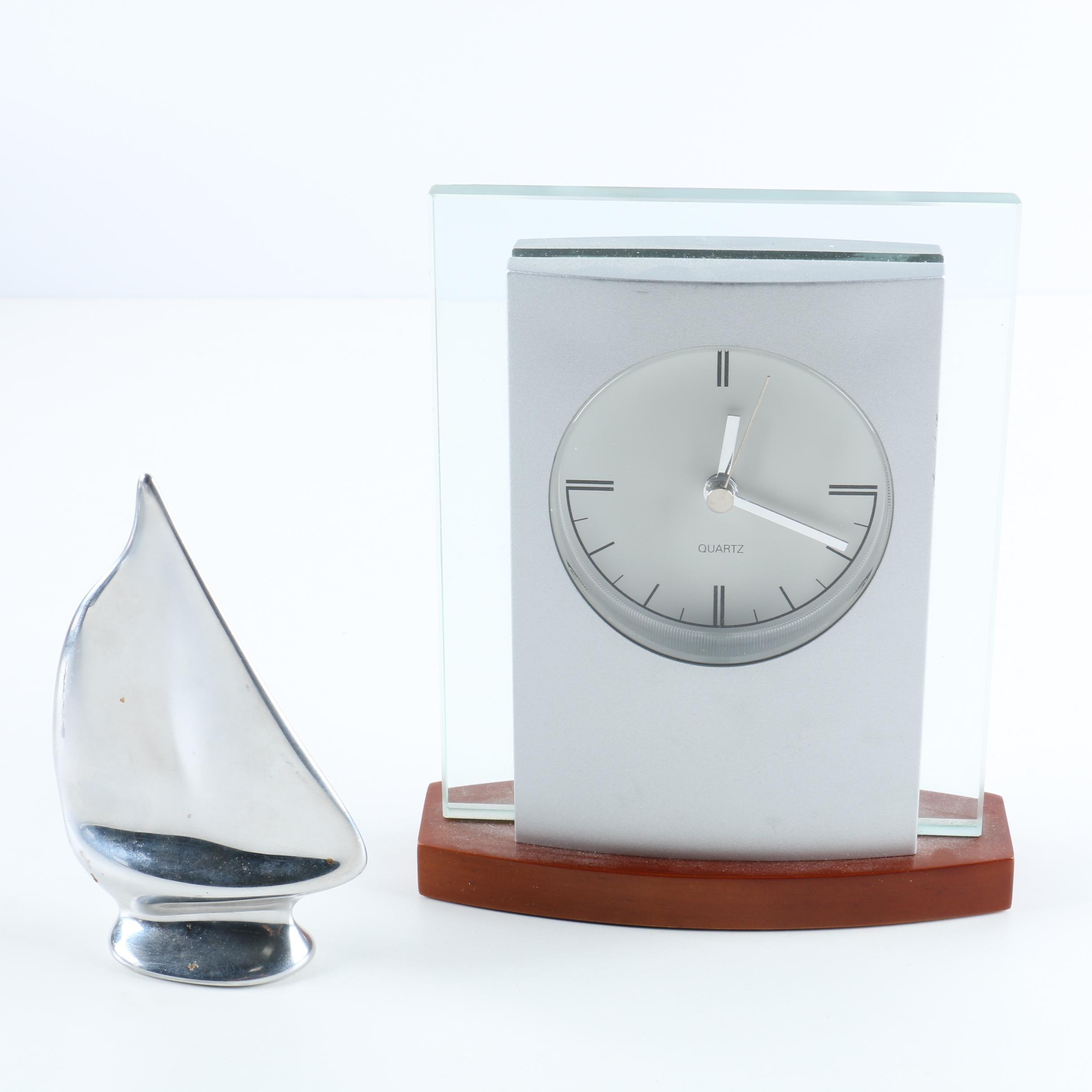 Hoselton Silver Plate Sail Boat Sculpture and Bulova Desk Clock