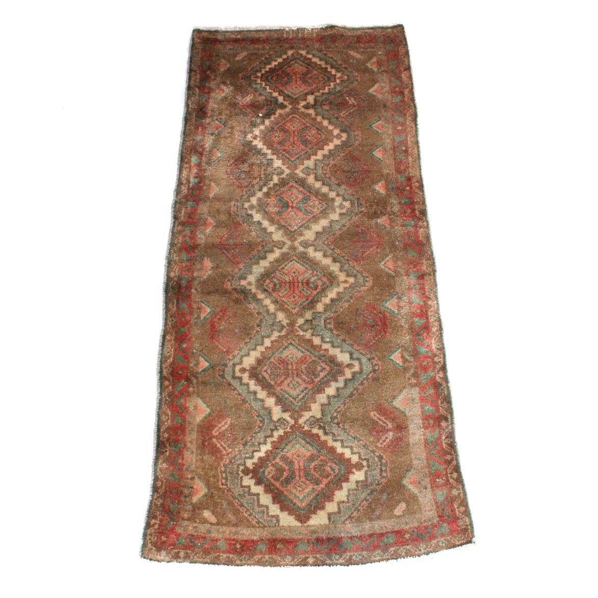 Semi-Antique Hand-Knotted Persian Heriz Carpet Runner