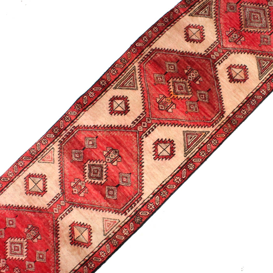 Semi-Antique Hand-Knotted Persian Sarab Carpet Runner
