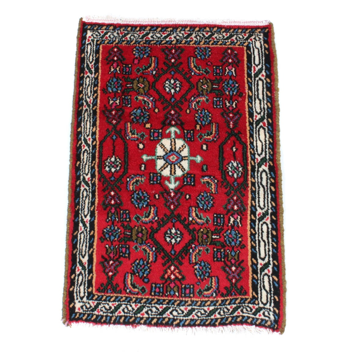 Hand-Knotted Persian Zanjan Accent Rug
