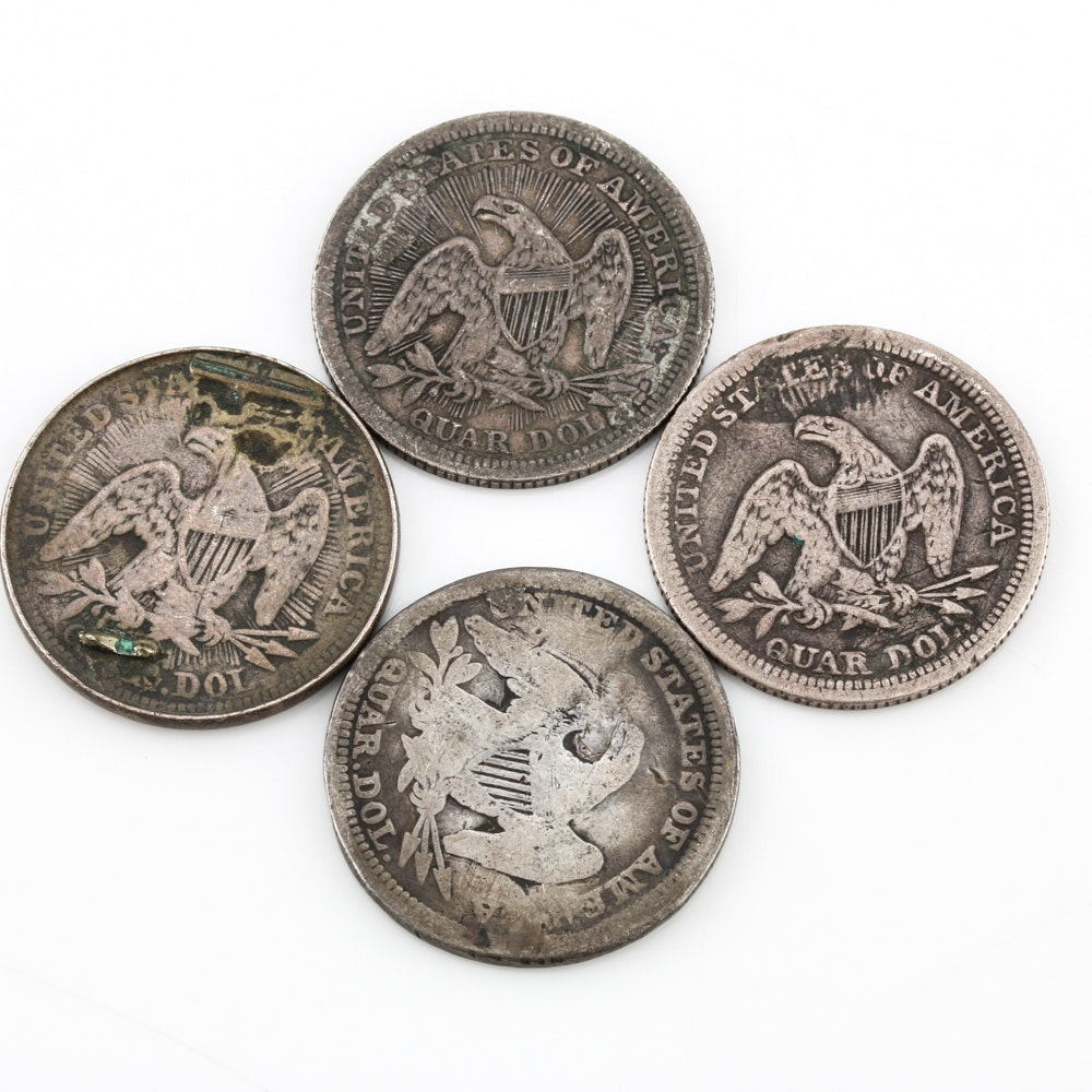 Four Seated Liberty Love Token Quarters