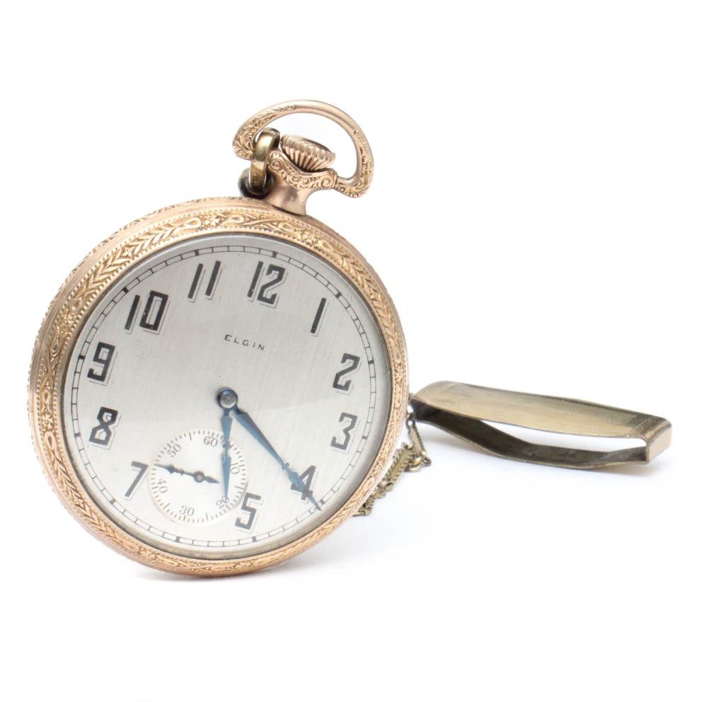 Circa 1927 10K Yellow Gold Filled Elgin Pocket Watch