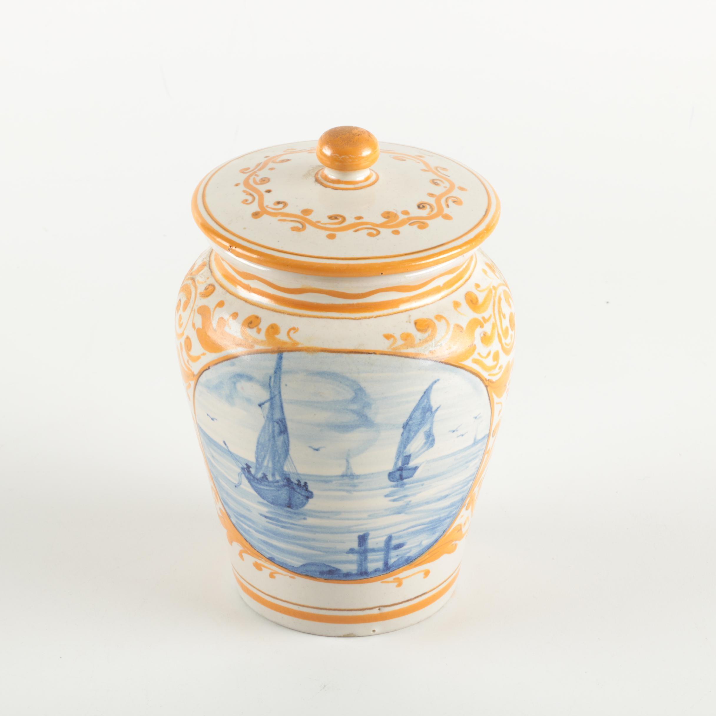 Geribi Deruta Italian Pottery Stoneware Jar